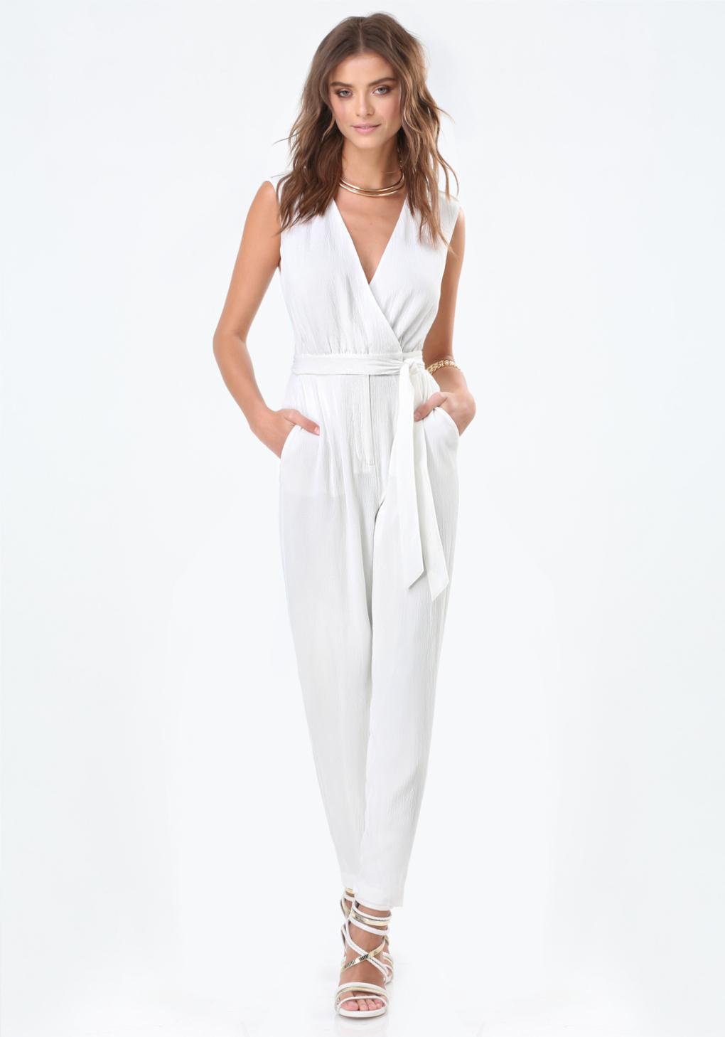 White Wrap Jumpsuit