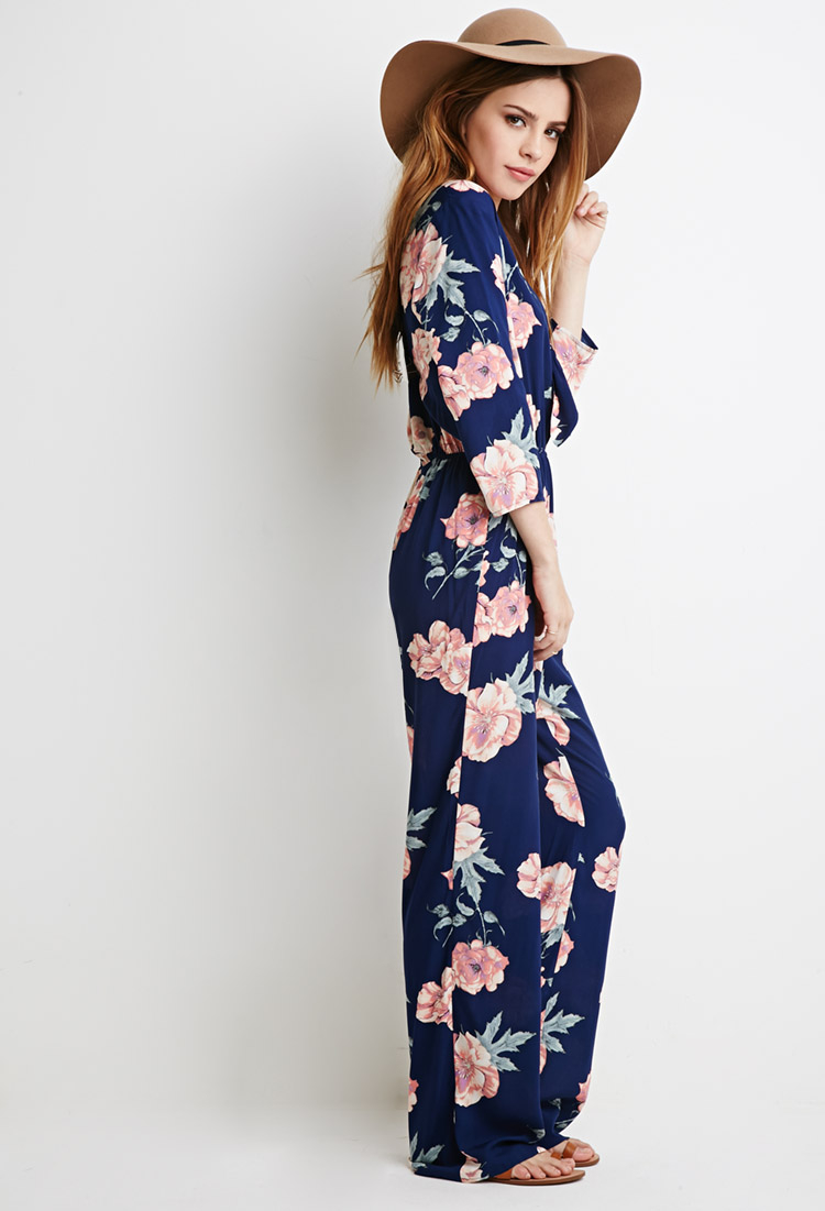 Lyst Forever 21 Self Tie Knotted Floral Jumpsuit Youve Been Added