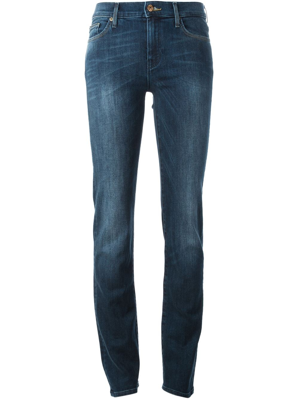for all mankind high waist straight leg jeans in blue lyst. Black Bedroom Furniture Sets. Home Design Ideas