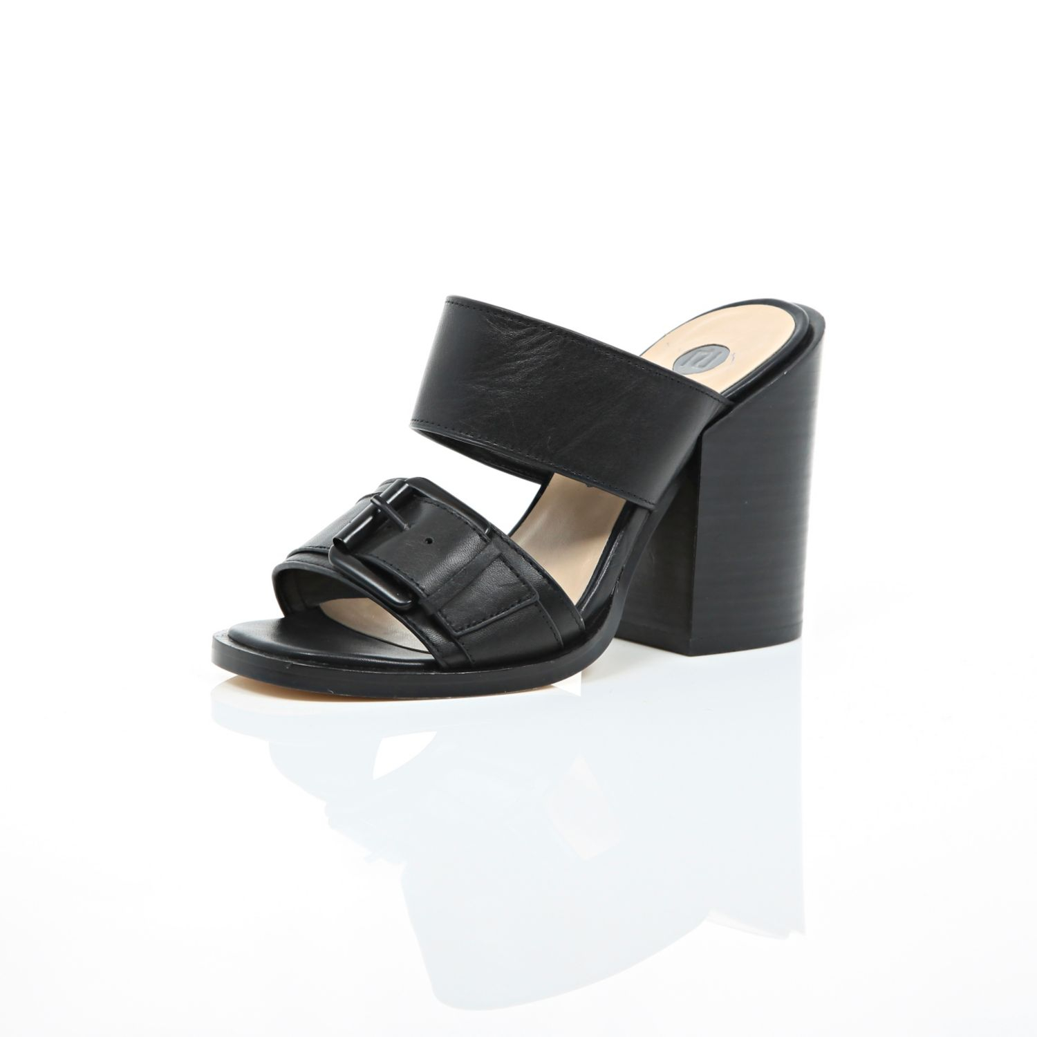River island black leather chunky block heel mules in for Black block