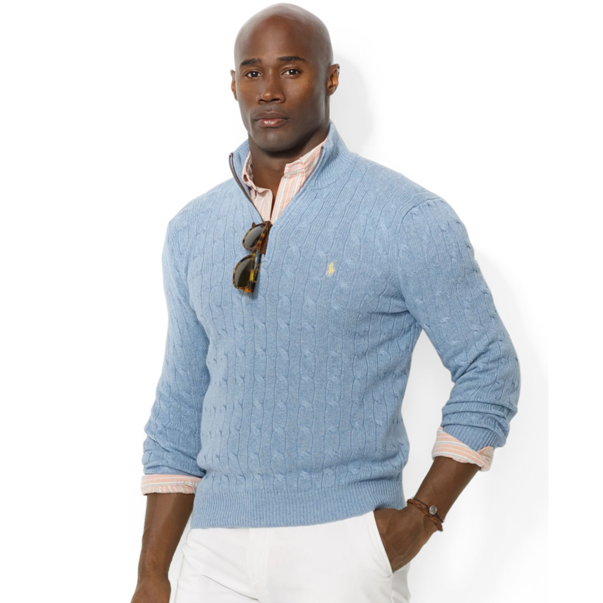 Ralph lauren Half Zip Cable Knit Tussah Silk Sweater in Blue for ...