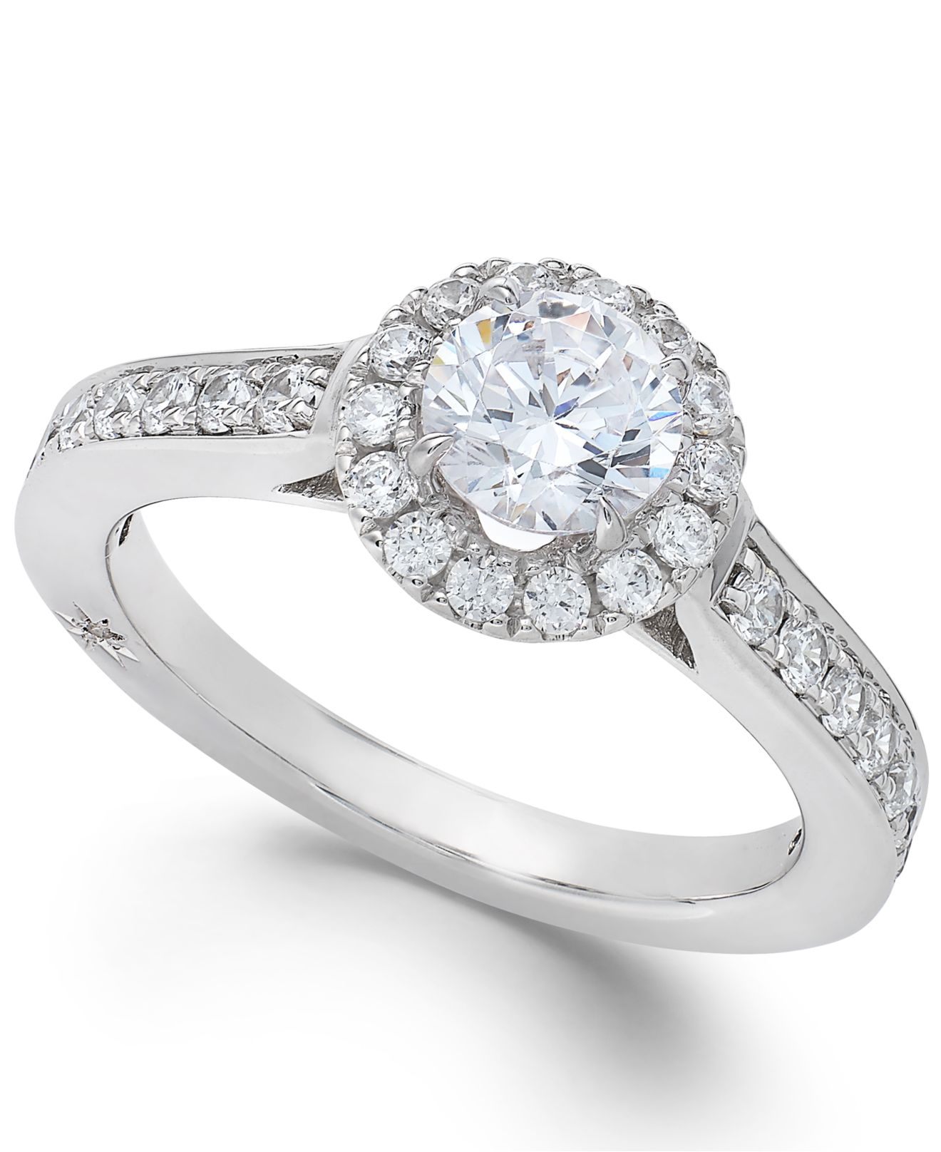 Marchesa Estate Halo By Certified Diamond Engagement Ring In 18k White Gold