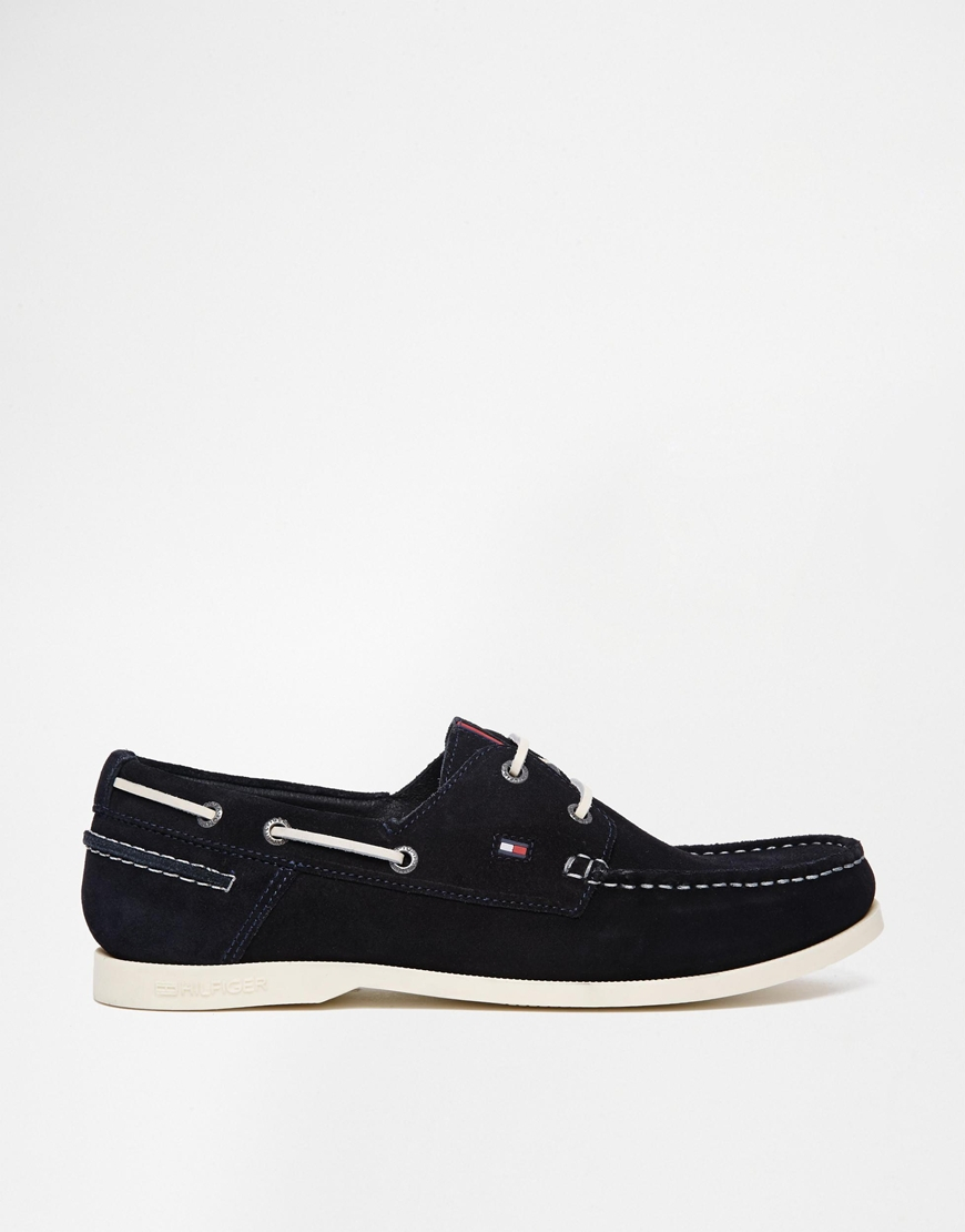 Lyst Tommy Hilfiger Suede Boat Shoes In Blue For Men