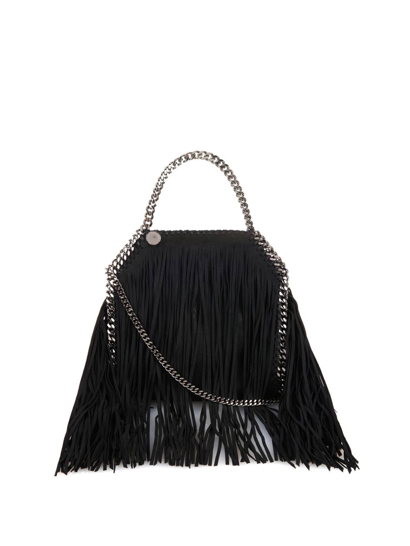 Stella McCartney Falabella Fringed Faux-suede Cross-body Bag in Black