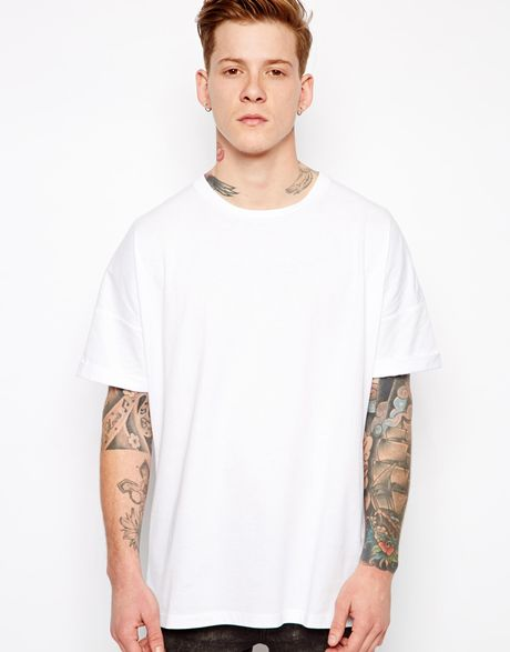 asos t shirt with oversized fit and roll sleeve in white. Black Bedroom Furniture Sets. Home Design Ideas