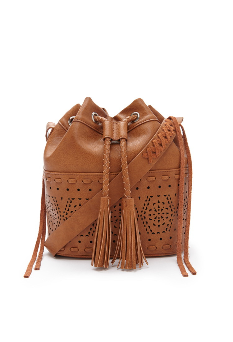 65d053ec7dc Forever 21 Brown Faux Leather Bucket Bag