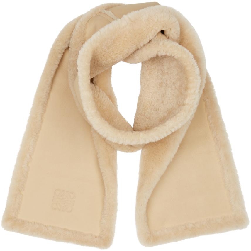 loewe beige shearling scarf in beige lyst
