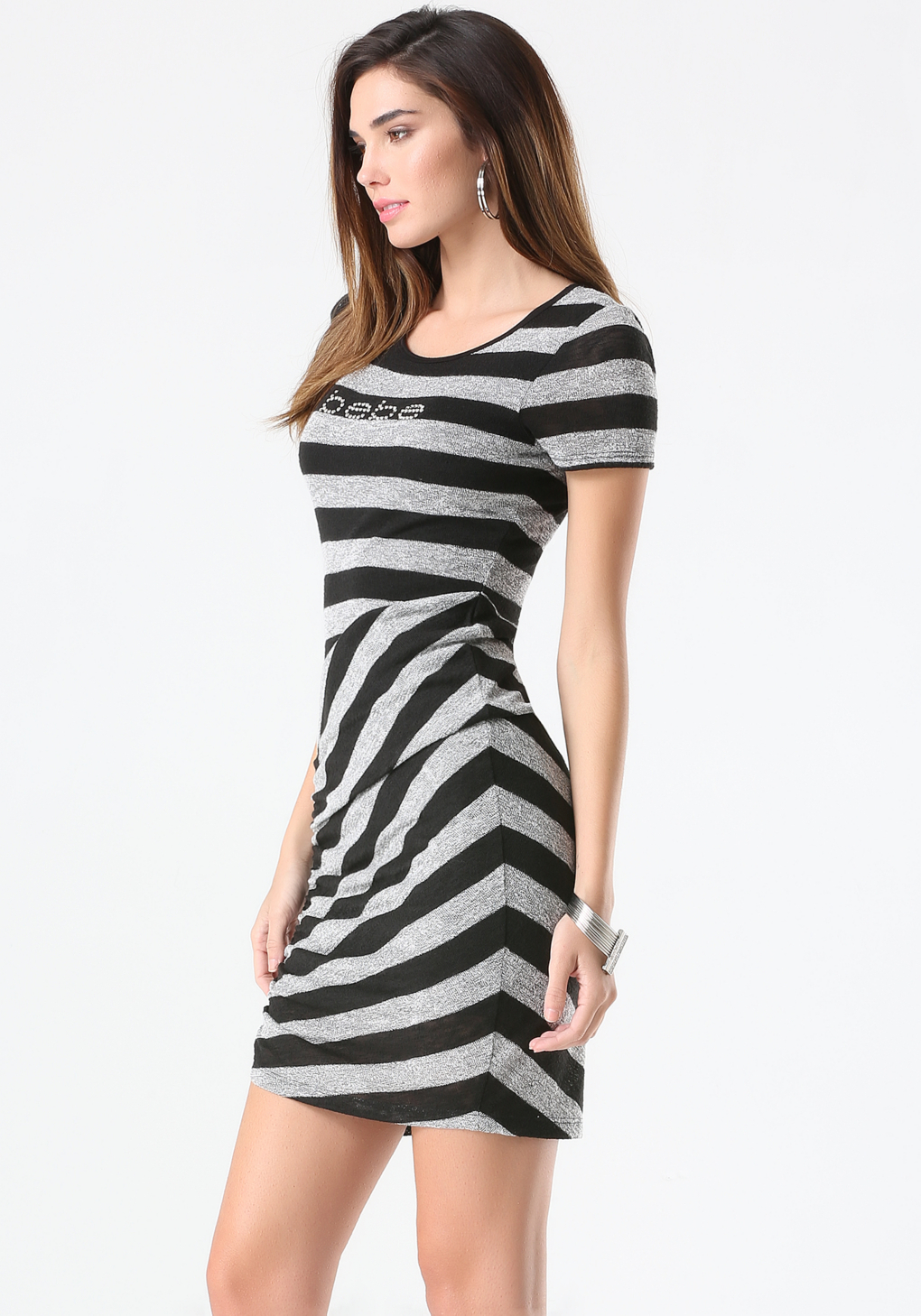 Casual Bebe dresses on sale like the Teresa Net dress and evening gowns like the Double V-Neck Metallic gown are a few of Bebe's fan-favorites. Celebrities like Rebecca Romijn, Eva Longoria, and Kim Kardashian have all had ad campaigns with the popular brand.