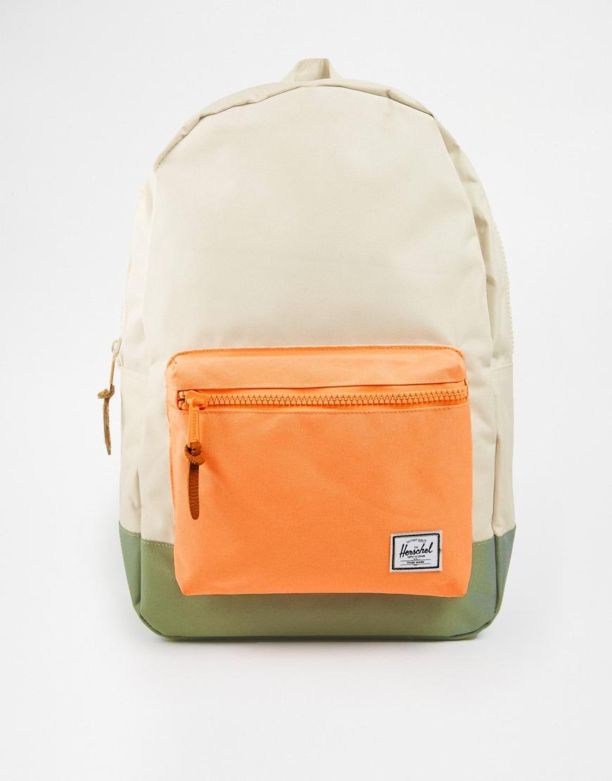 herschel supply co settlement backpack in natural with color block pocket in beige. Black Bedroom Furniture Sets. Home Design Ideas