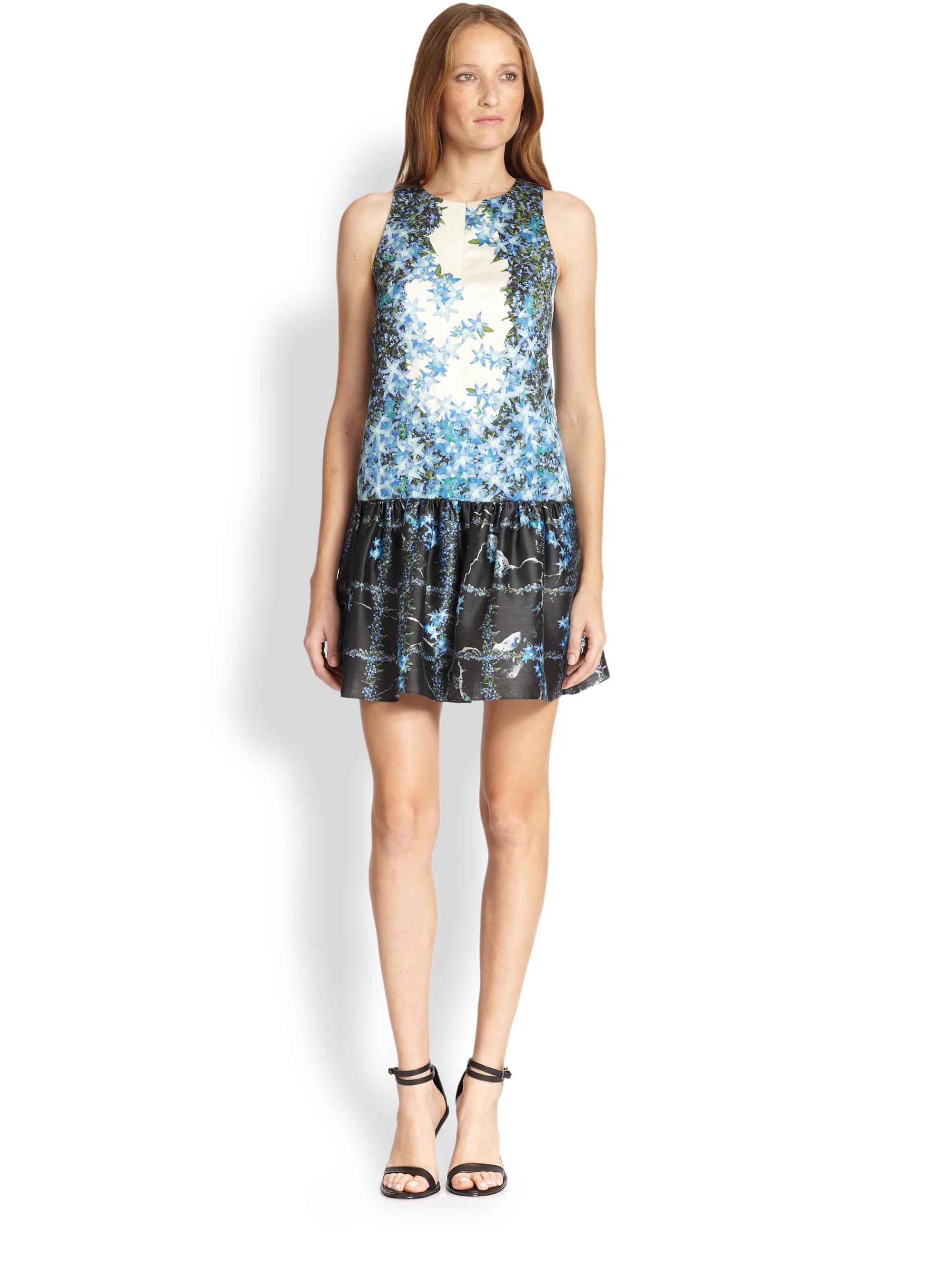 Tibi Floral-print Silk Open-back Dress in Blue - Lyst