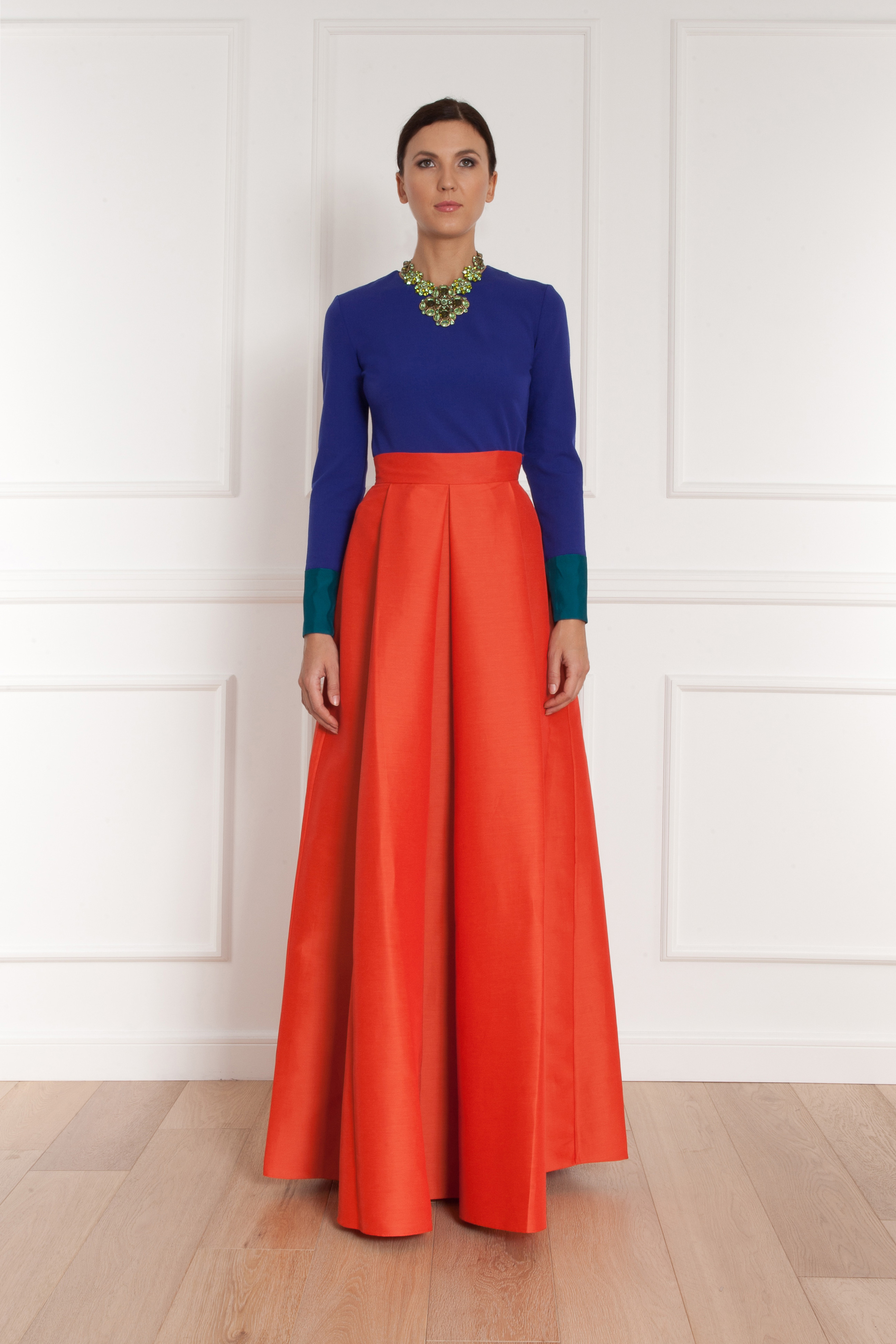 Roksanda Alia Flared Dupion Maxi Skirt in Orange | Lyst