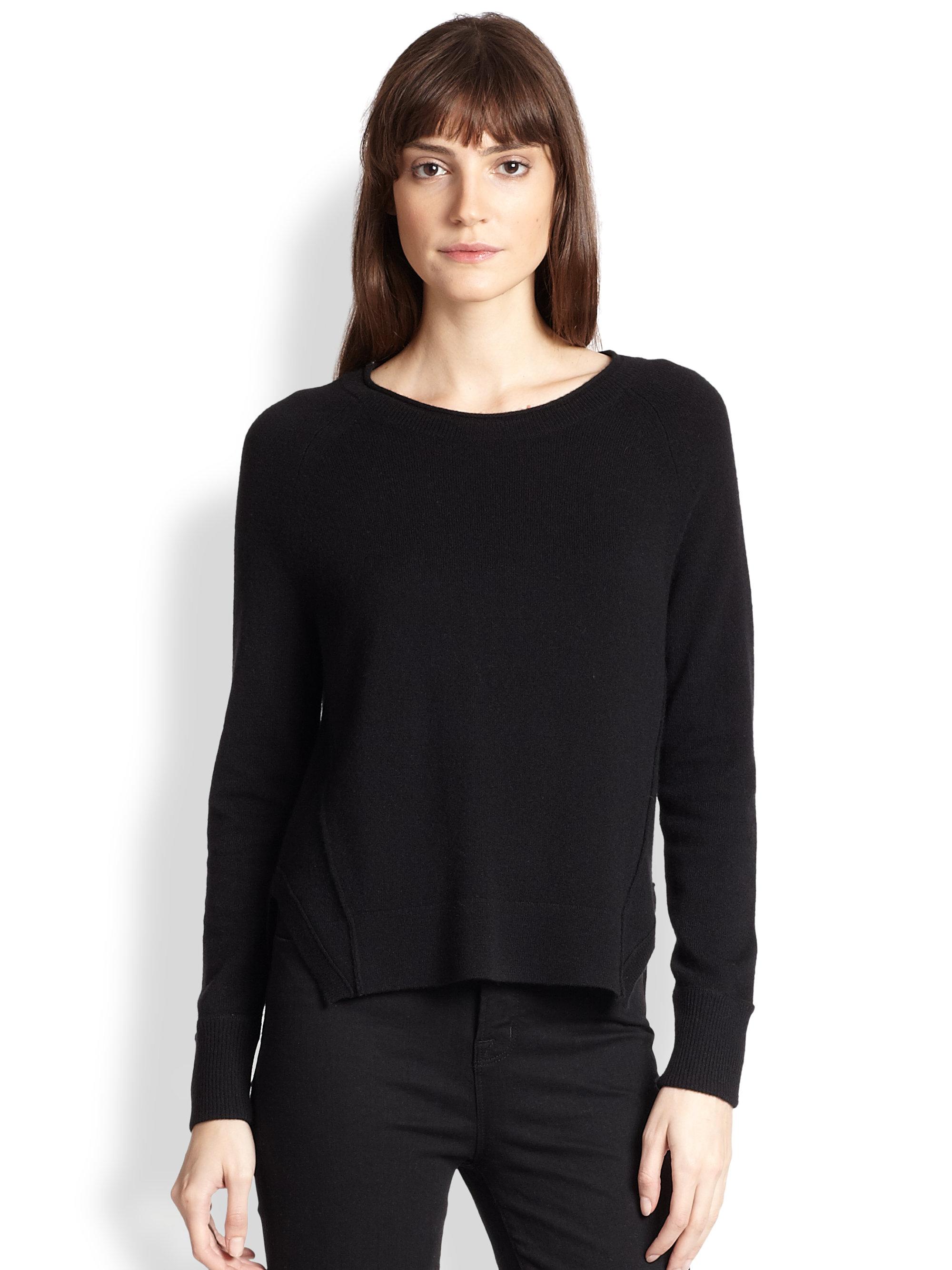 J brand Eugenia Cashmere Split-Side Sweater in Black | Lyst