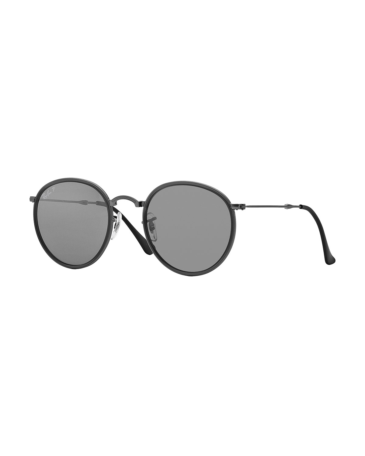 ray ban round metal sunglasses in gray lyst. Black Bedroom Furniture Sets. Home Design Ideas