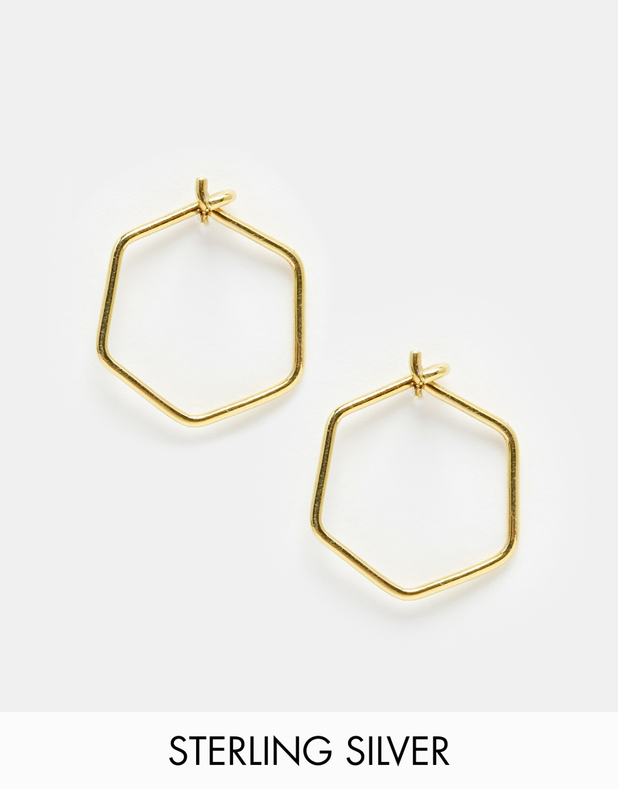 1b10c4b8f39e8 ASOS Metallic Gold Plated Sterling Silver 12mm Hexagon Hoop Earrings