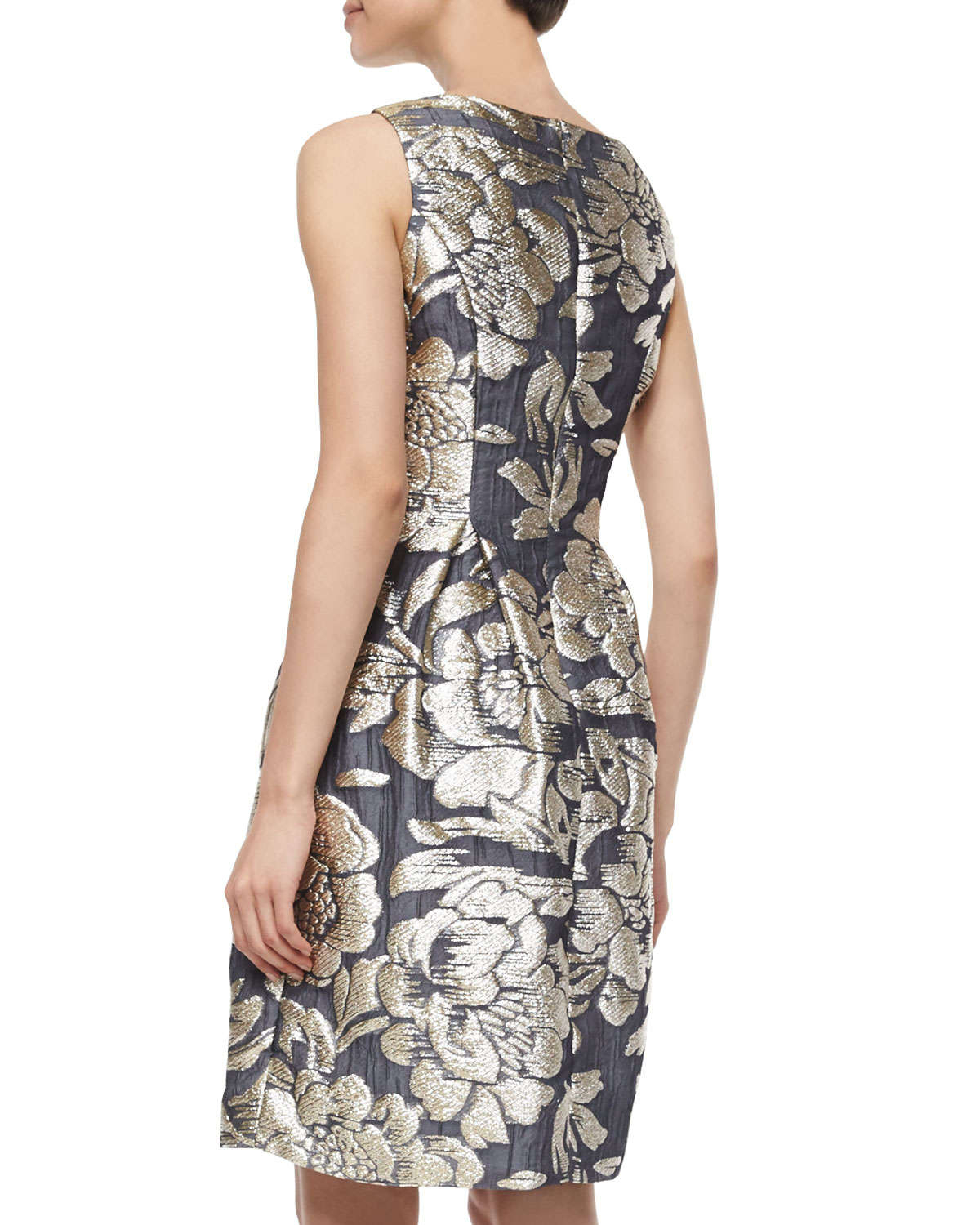 Lela Rose Metallic Floral Jacquard Dress In Black Lyst