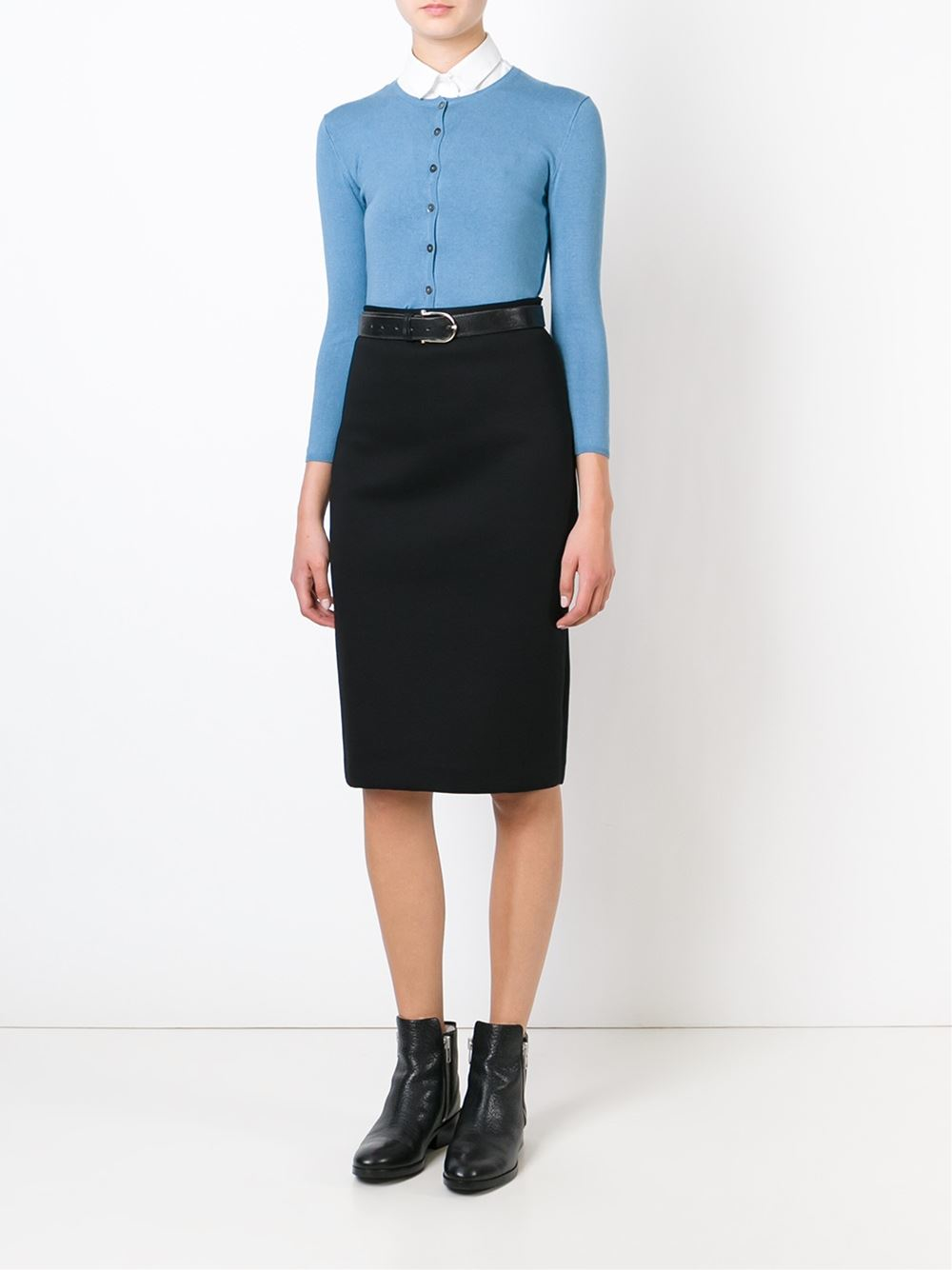 p a r o s h midi pencil skirt in black lyst
