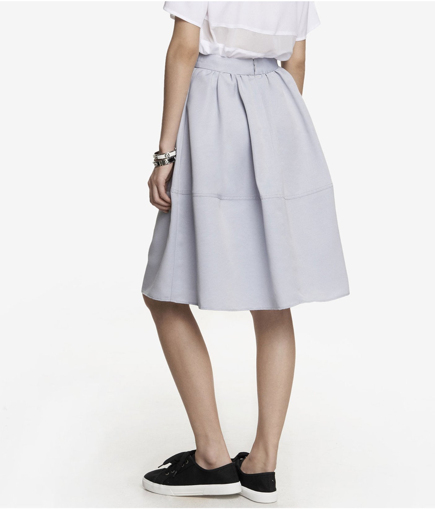express high waist midi skirt in gray pale gray lyst