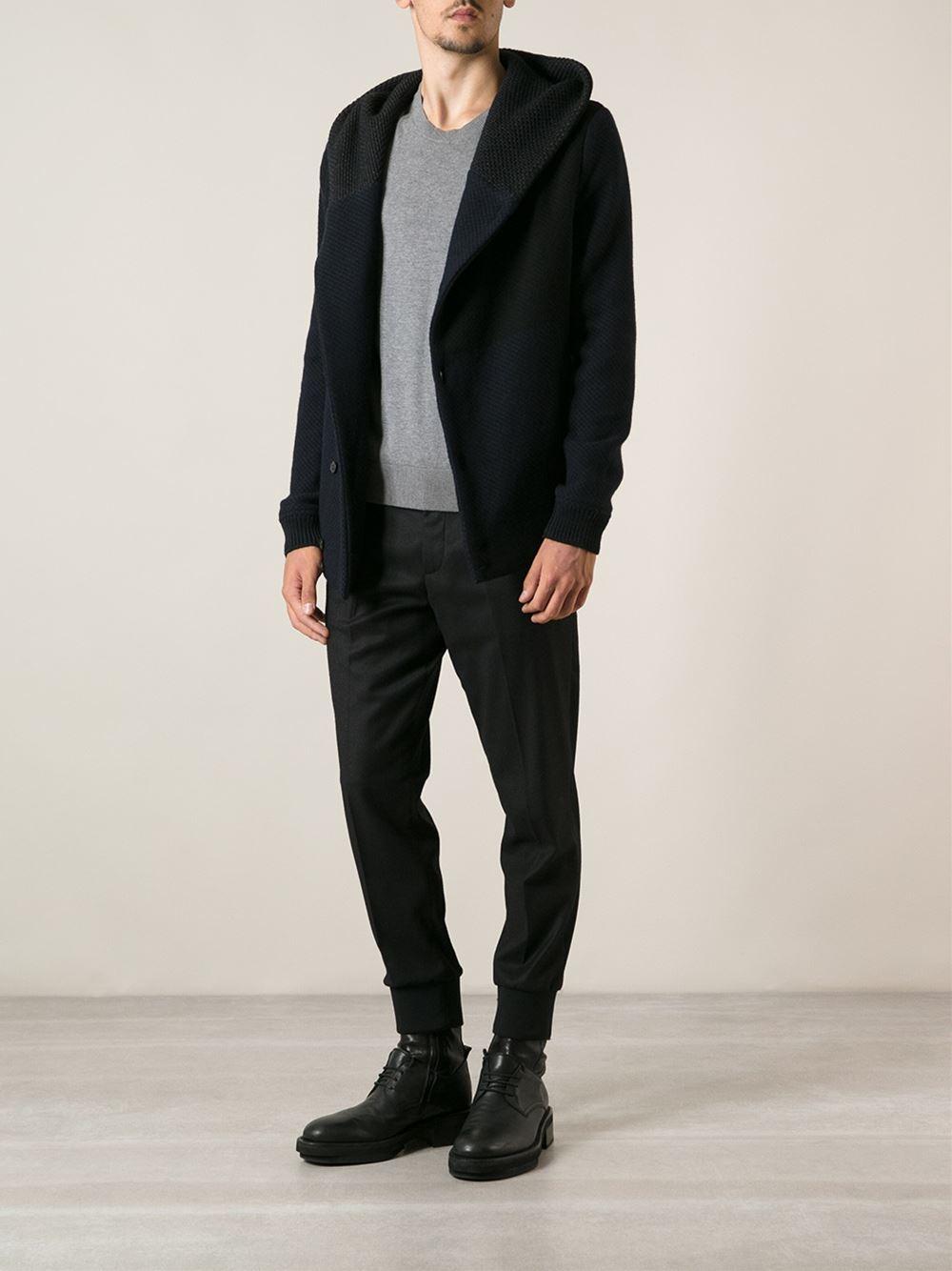 Stephan schneider Hooded Cardigan in Black for Men | Lyst