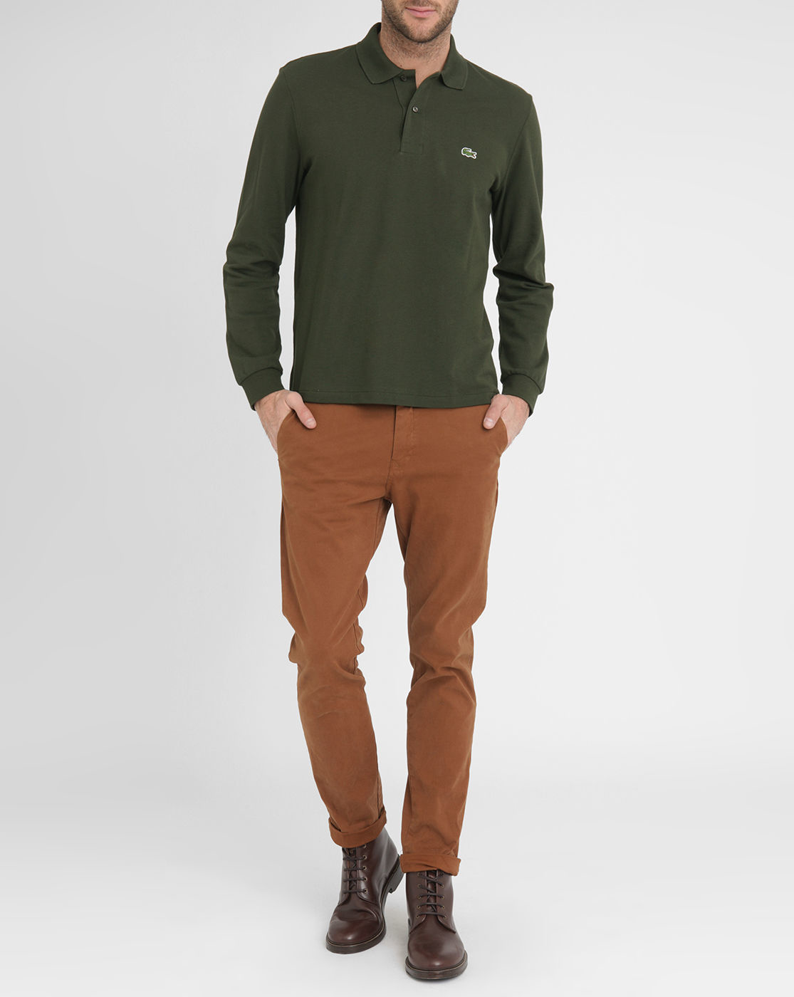 Lacoste khaki long sleeve polo shirt in green for men Man in polo shirt
