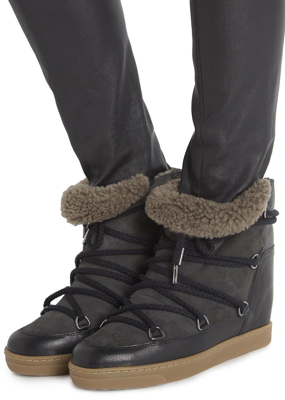 isabel marant nowles snow boot in black lyst. Black Bedroom Furniture Sets. Home Design Ideas
