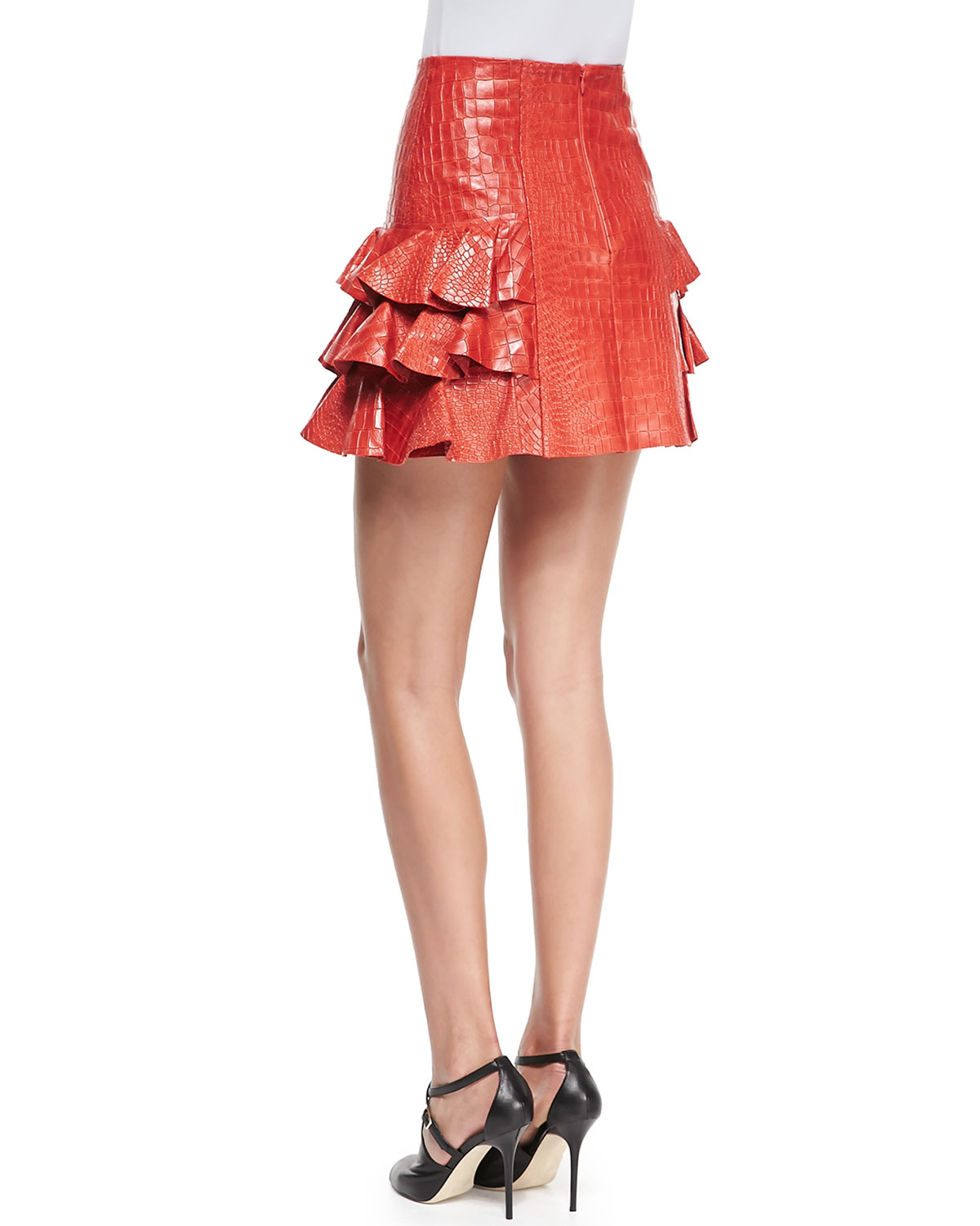 munich croco embossed ruffled leather skirt in