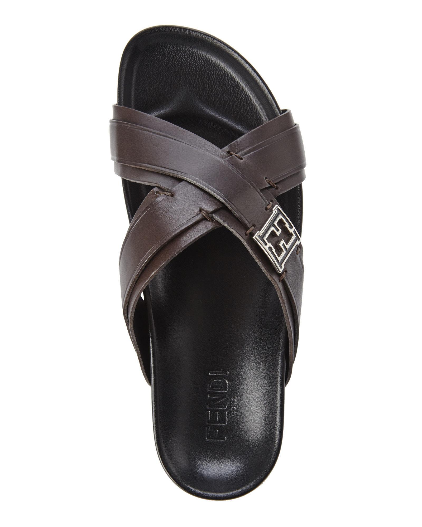 Fendi Brown Cross Strap Slide Sandals In Brown For Men Lyst