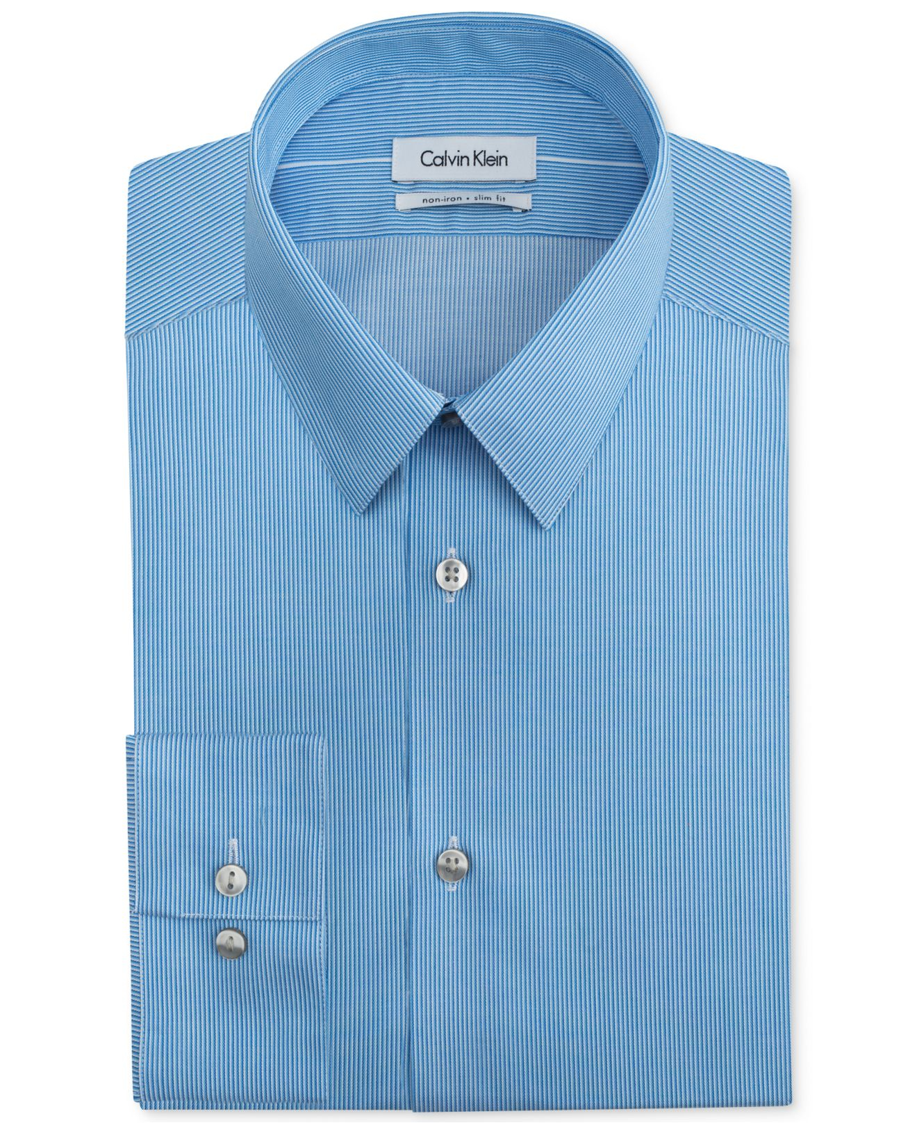 Lyst calvin klein steel non iron slim fit ultra blue for No iron slim fit dress shirts