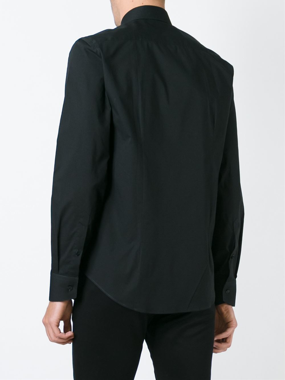 Lyst just cavalli spread collar shirt in black for men for Men s spread collar shirts