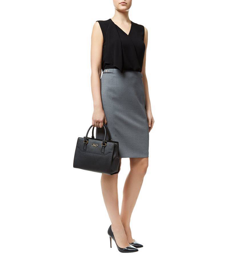 wool pencil suit skirt in gray lyst