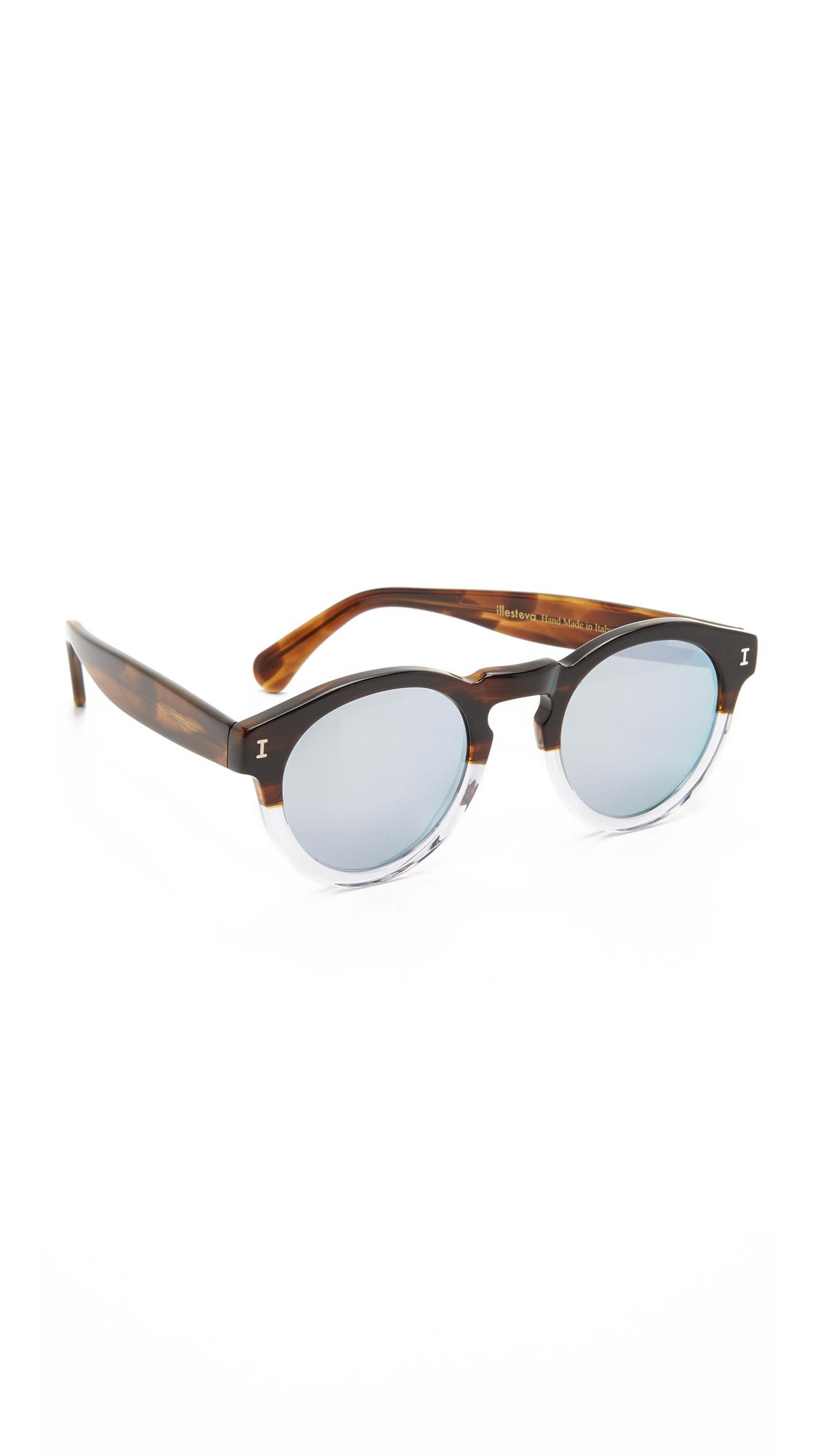 Illesteva Leonard Half & Half Mirrored Sunglasses in Brown