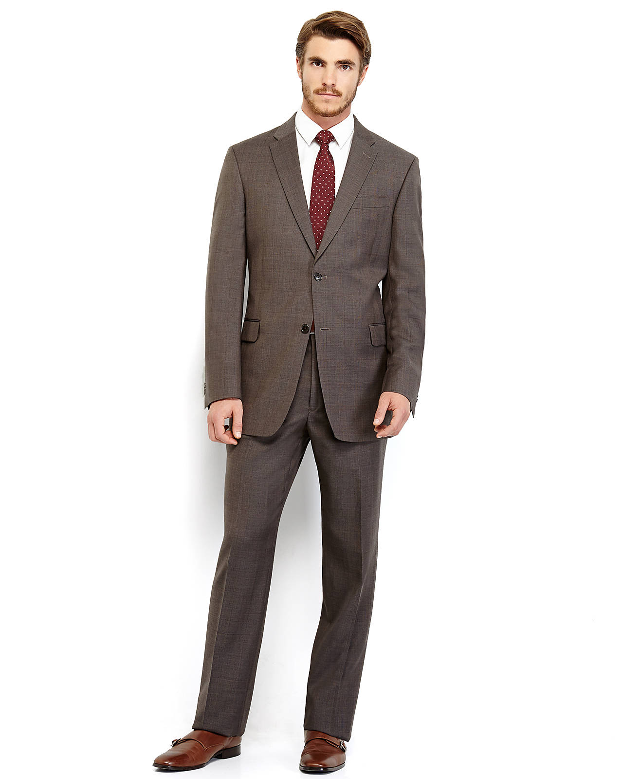 Tommy hilfiger Brown Tonal Plaid Suit in Brown for Men | Lyst