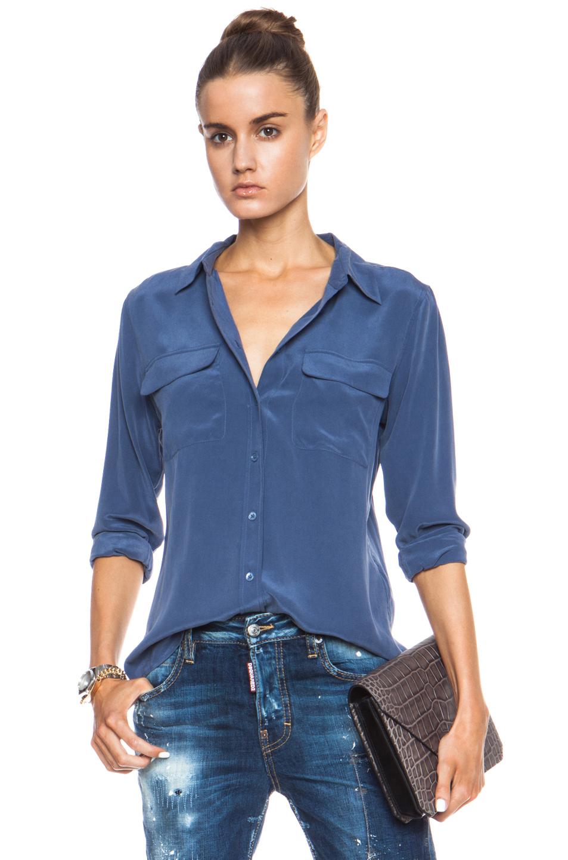 Equipment slim signature silk blouse in blue crown blue for Equipment signature silk shirt