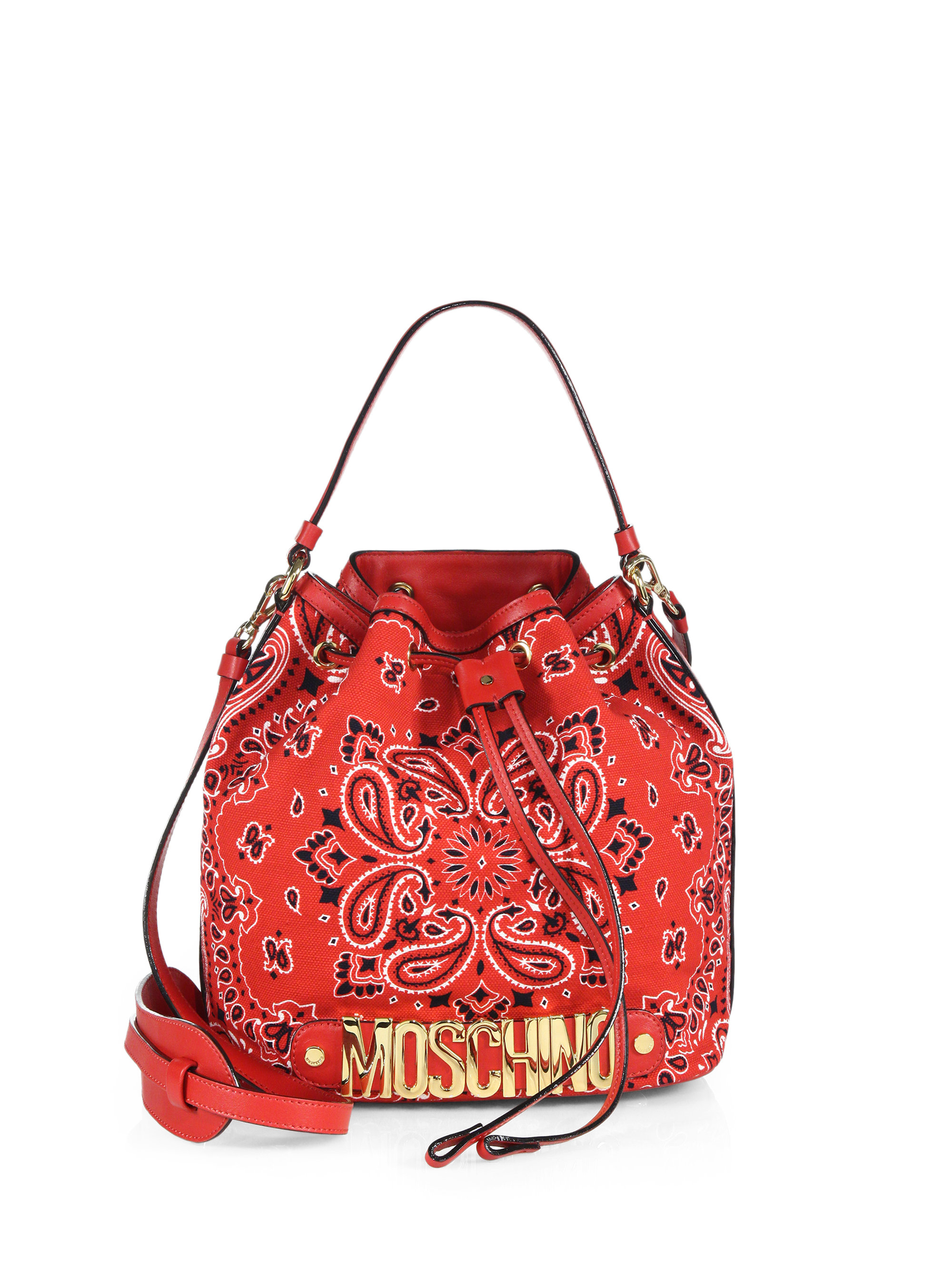 baed6c325f066 Moschino Bandana Canvas Bucket Bag in Red - Lyst