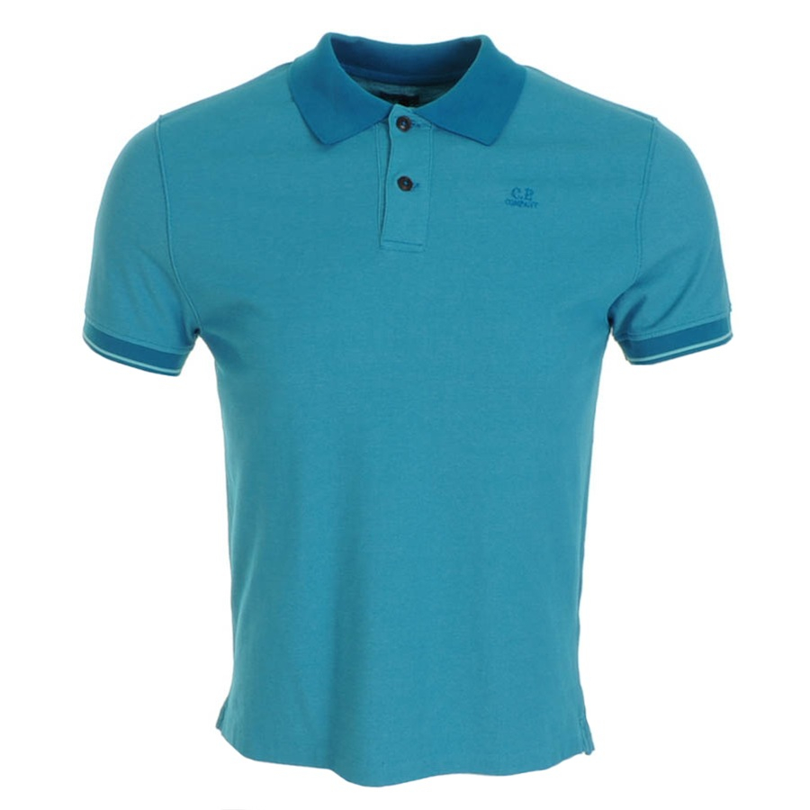 C p company cp company logo polo t shirt hawaii in blue for Corporate polo shirts with logo