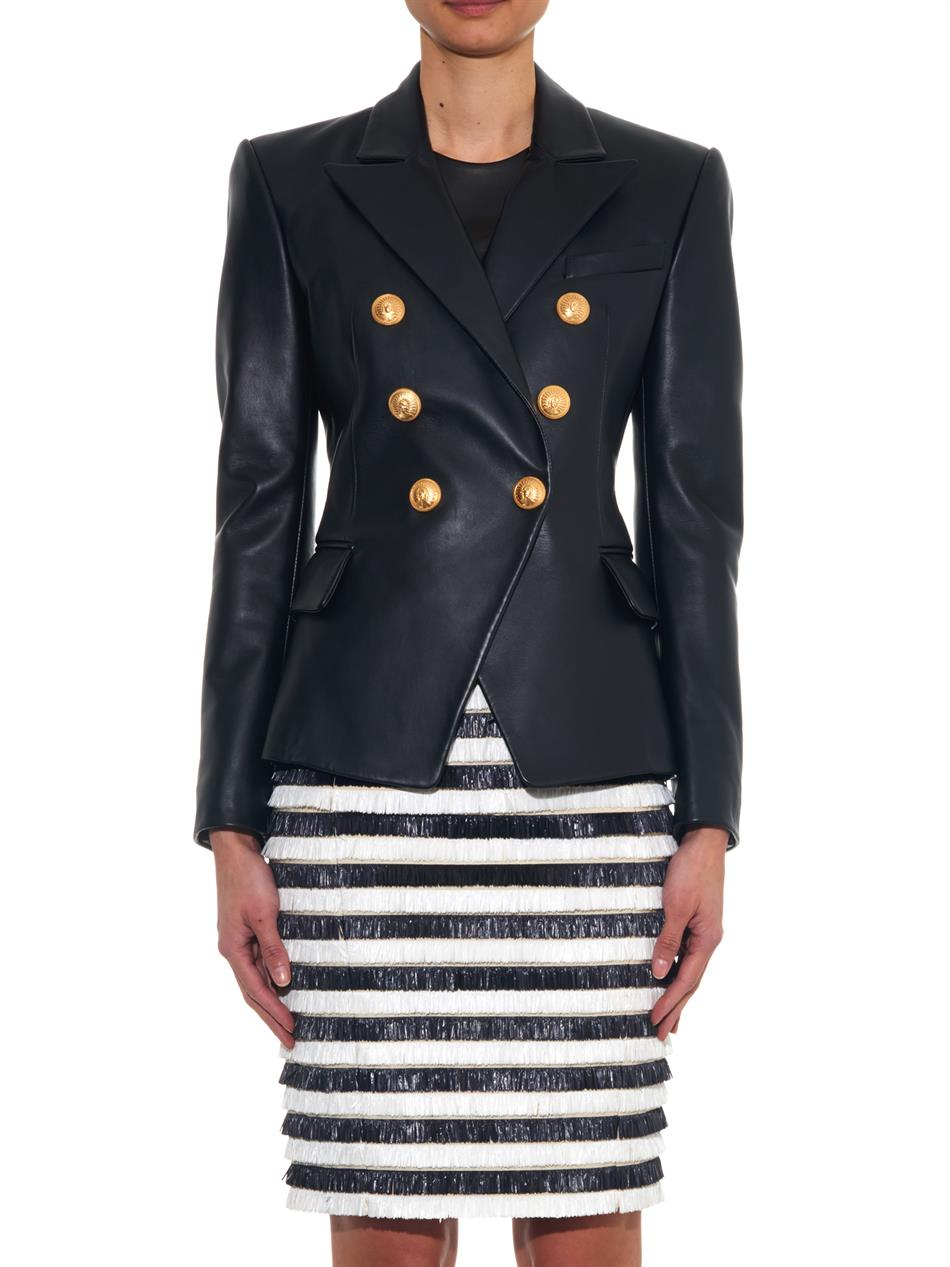 33462a0b Balmain Double-Breasted Leather Blazer in Black - Lyst