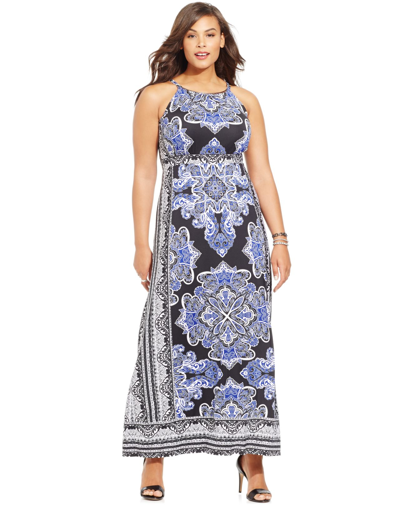 Plus Size Printed Halter Maxi Dress