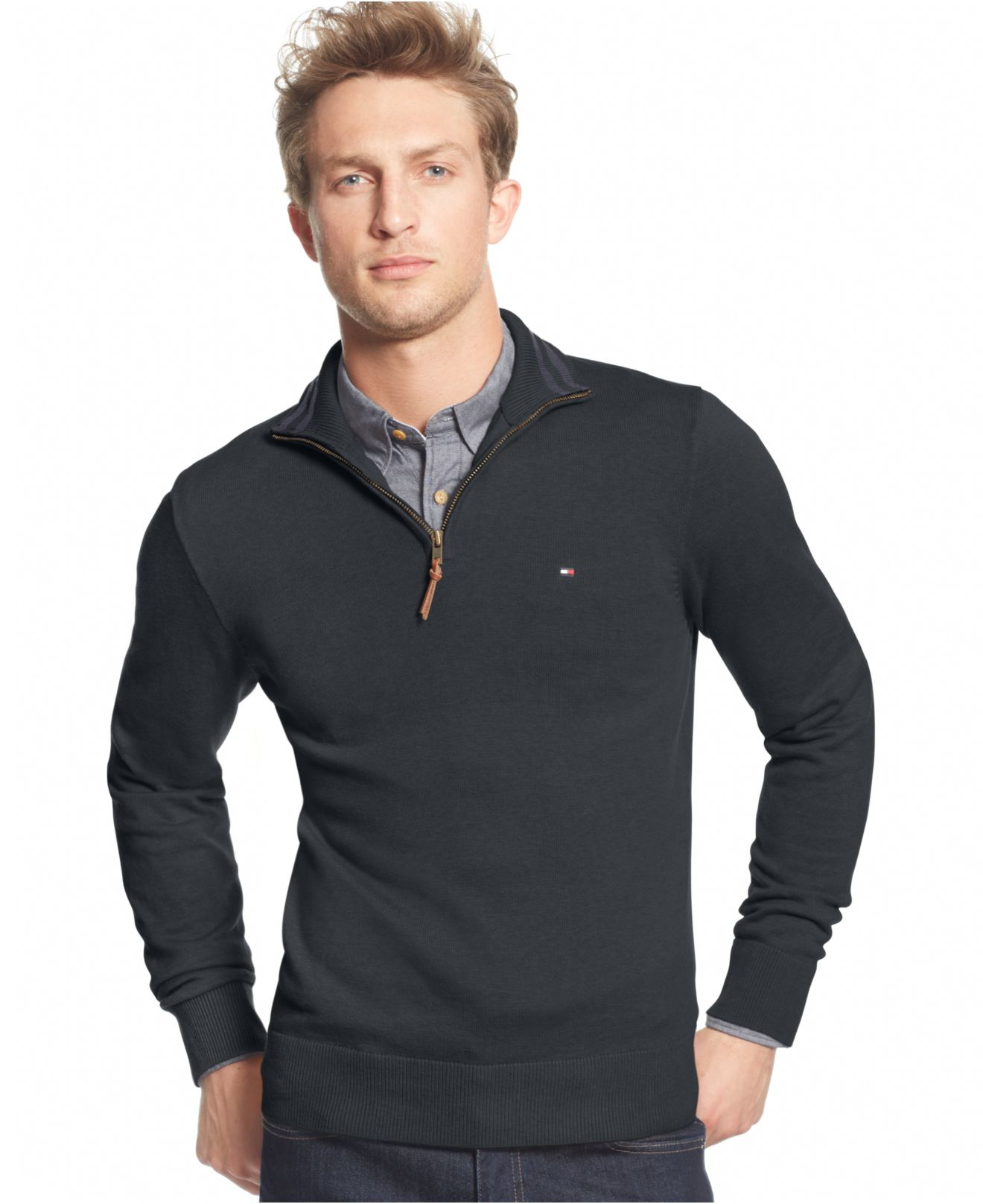 tommy hilfiger signature solid quarter zip sweater in gray. Black Bedroom Furniture Sets. Home Design Ideas