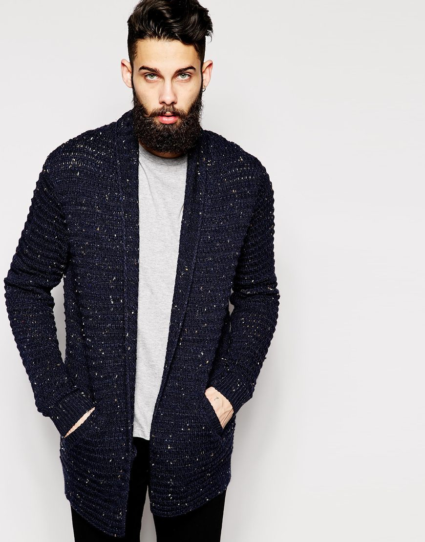 Asos Longline Cardigan With Neps in Blue for Men | Lyst