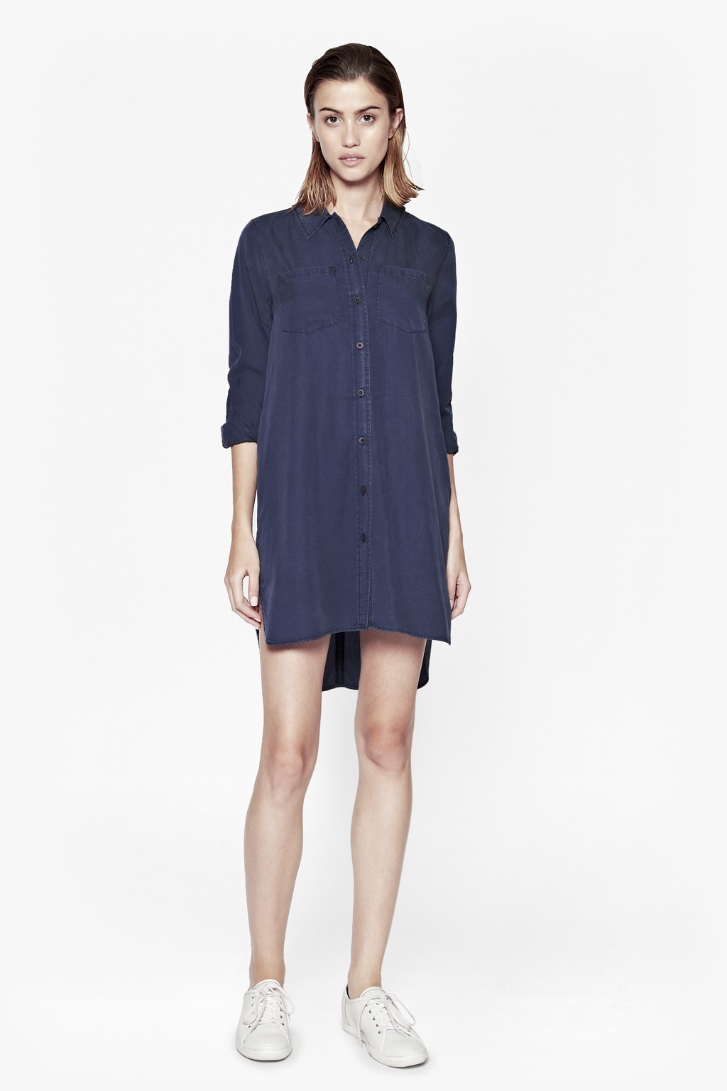 french connection cobalt tencel shirt dress in blue lyst