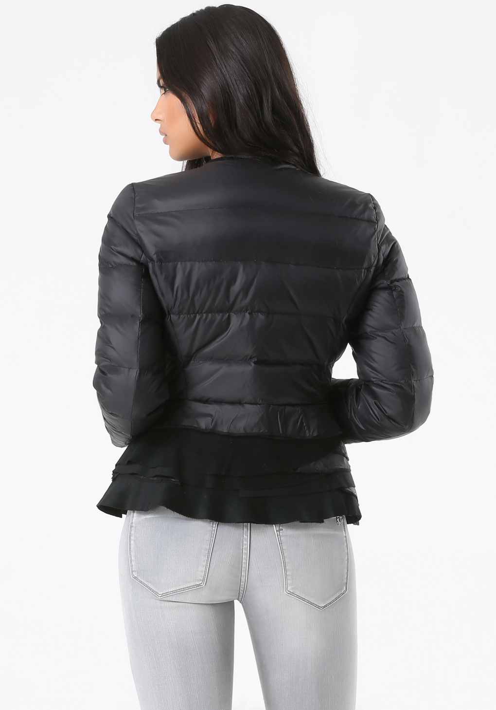 Bebe Peplum Puffer Jacket in Black - Lyst