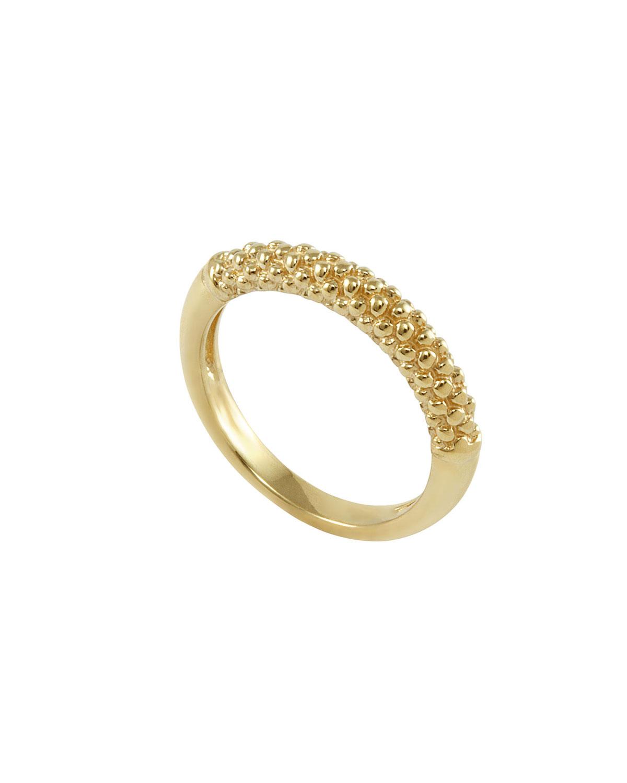 lagos 18k caviar ring in metallic lyst