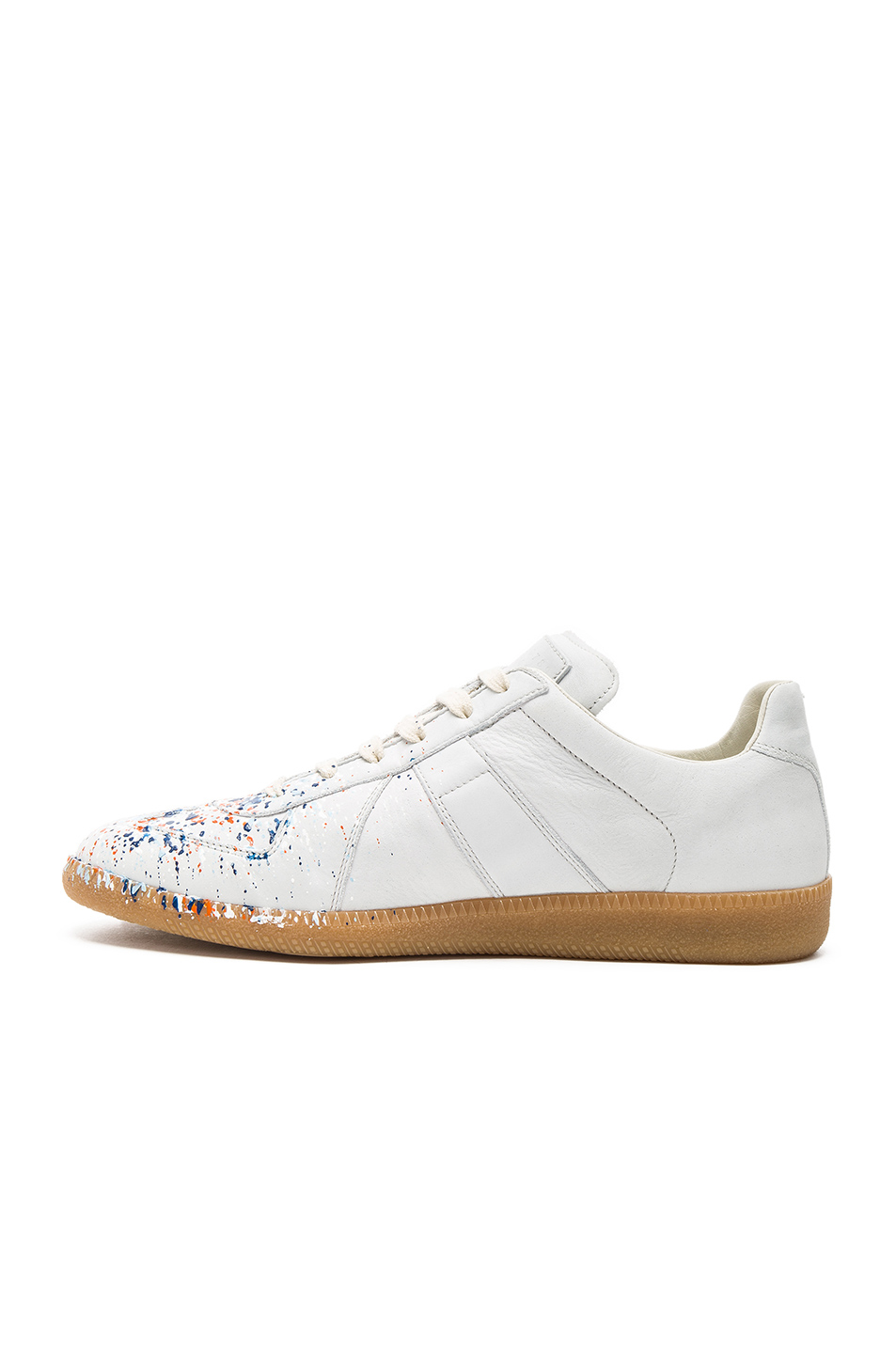maison margiela replica paint splatter leather low top sneakers in white lyst. Black Bedroom Furniture Sets. Home Design Ideas