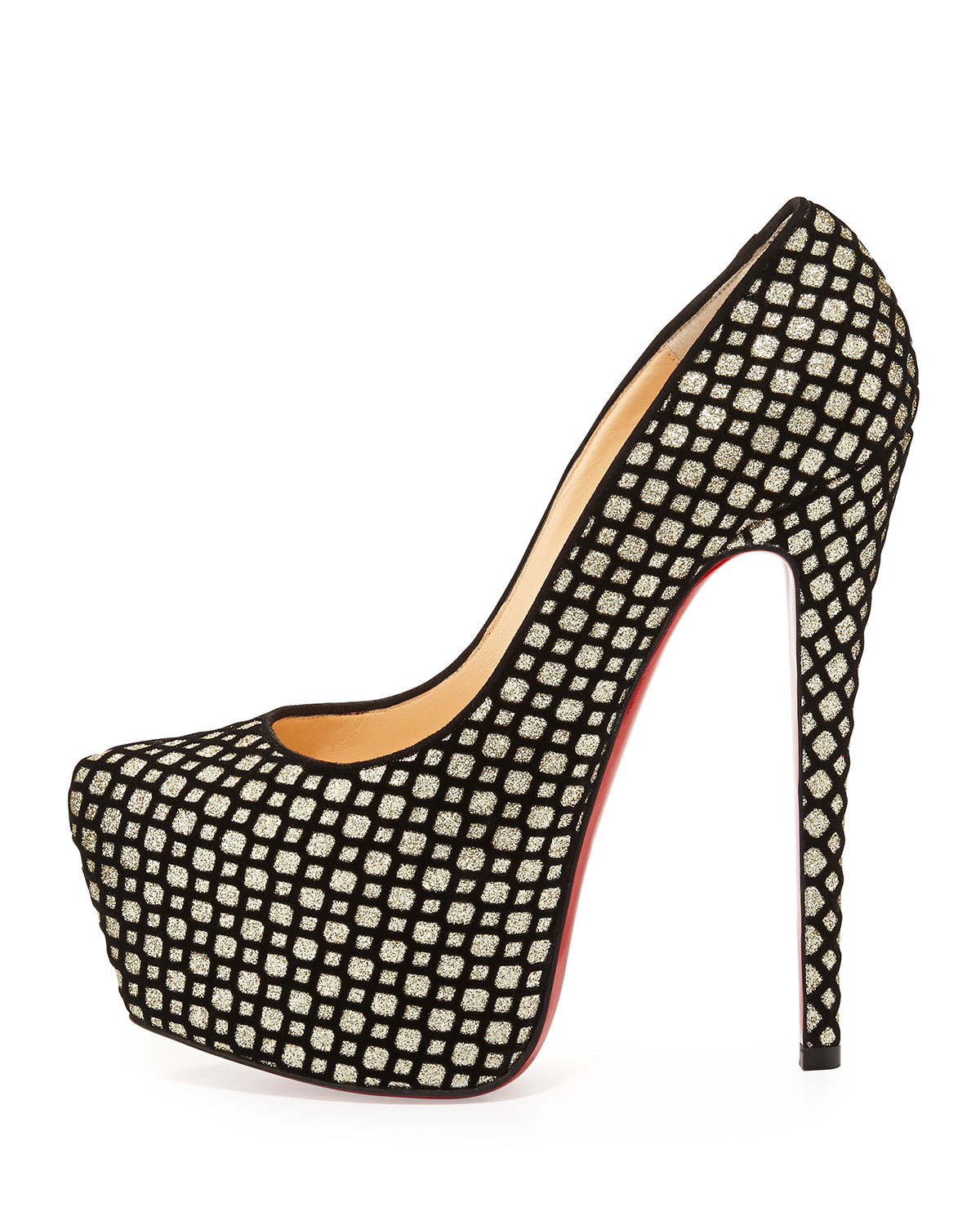 6f821cdebfb6 Lyst - Christian Louboutin Daffodile Glitter Suede Red Sole Platform ...