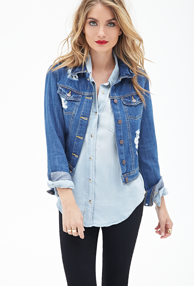 Forever 21 Contemporary Distressed Denim Jacket in Blue - Lyst