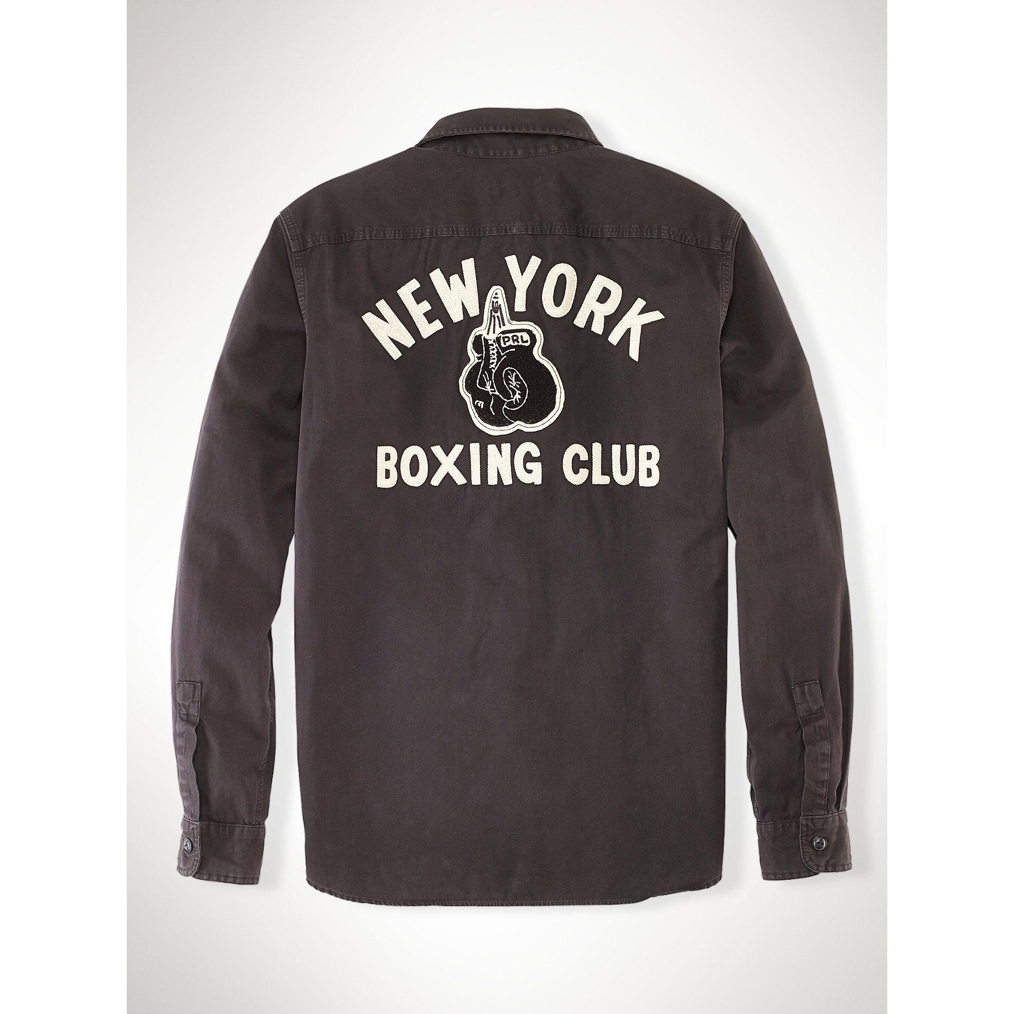 Polo ralph lauren boxing club cotton workshirt in black for Ralph lauren polo club shirts