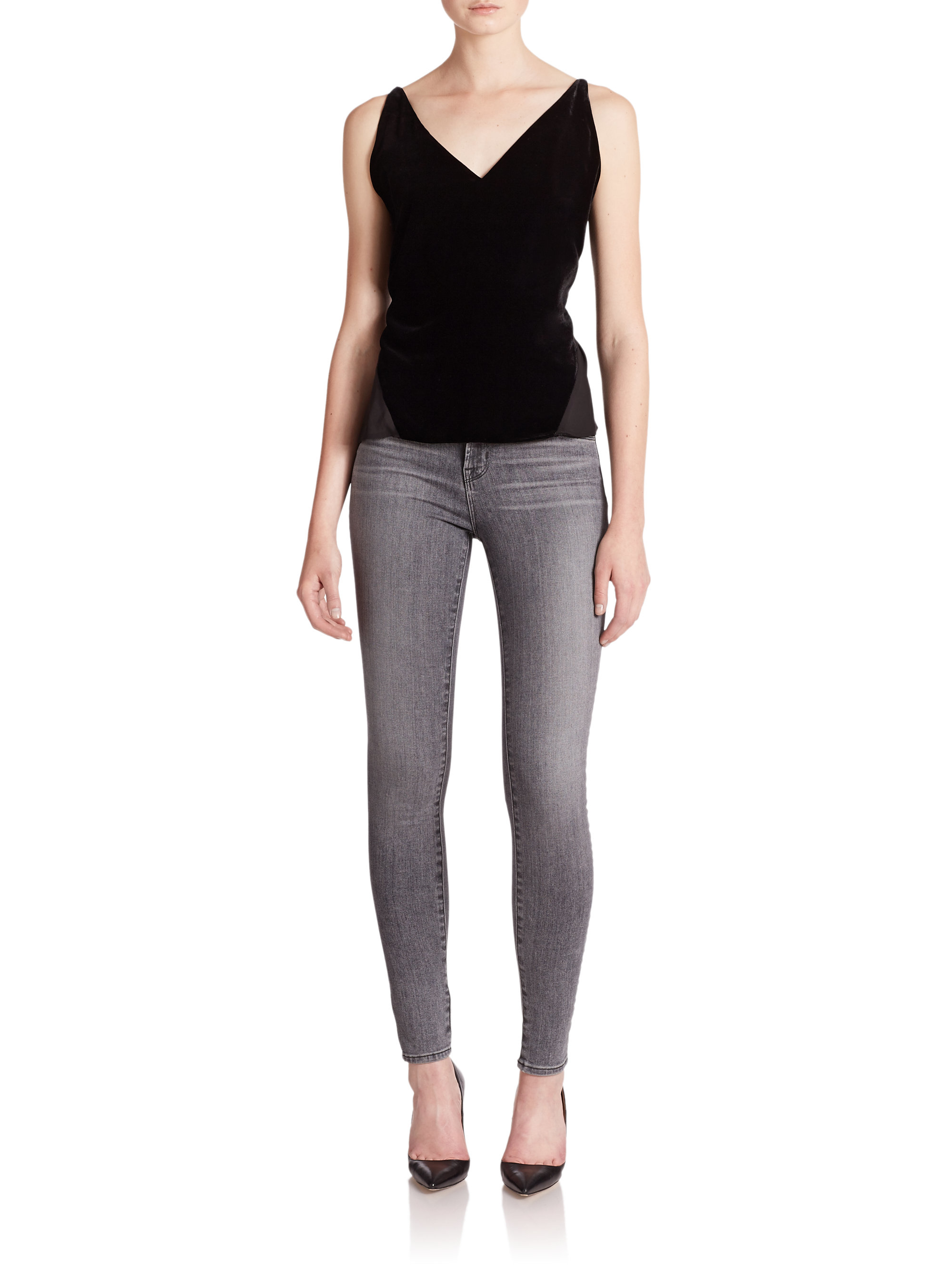 j brand 23110 maria high rise skinny jeans in gray lyst. Black Bedroom Furniture Sets. Home Design Ideas