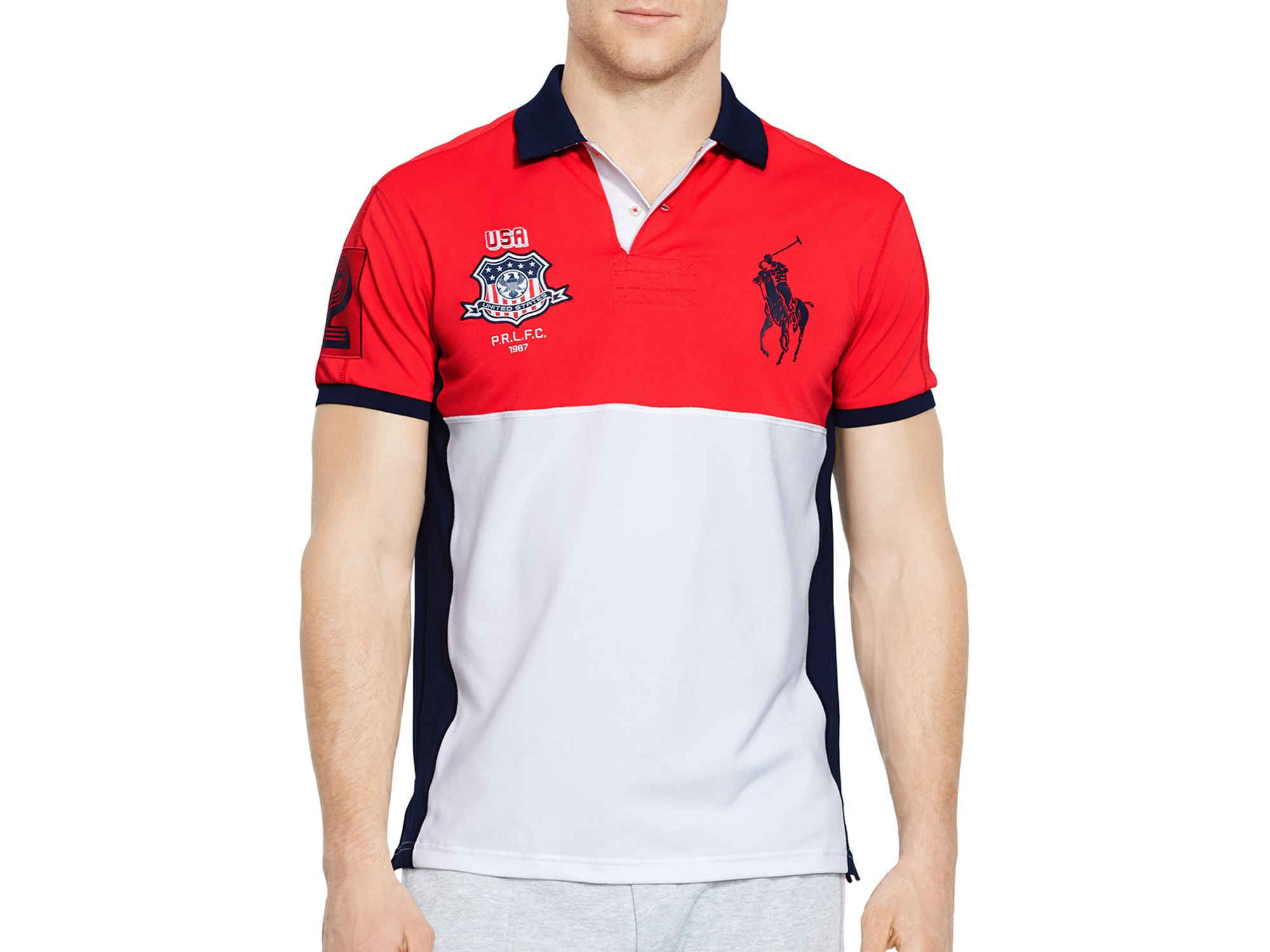 ralph lauren polo sport usa performance mesh polo shirt in. Black Bedroom Furniture Sets. Home Design Ideas