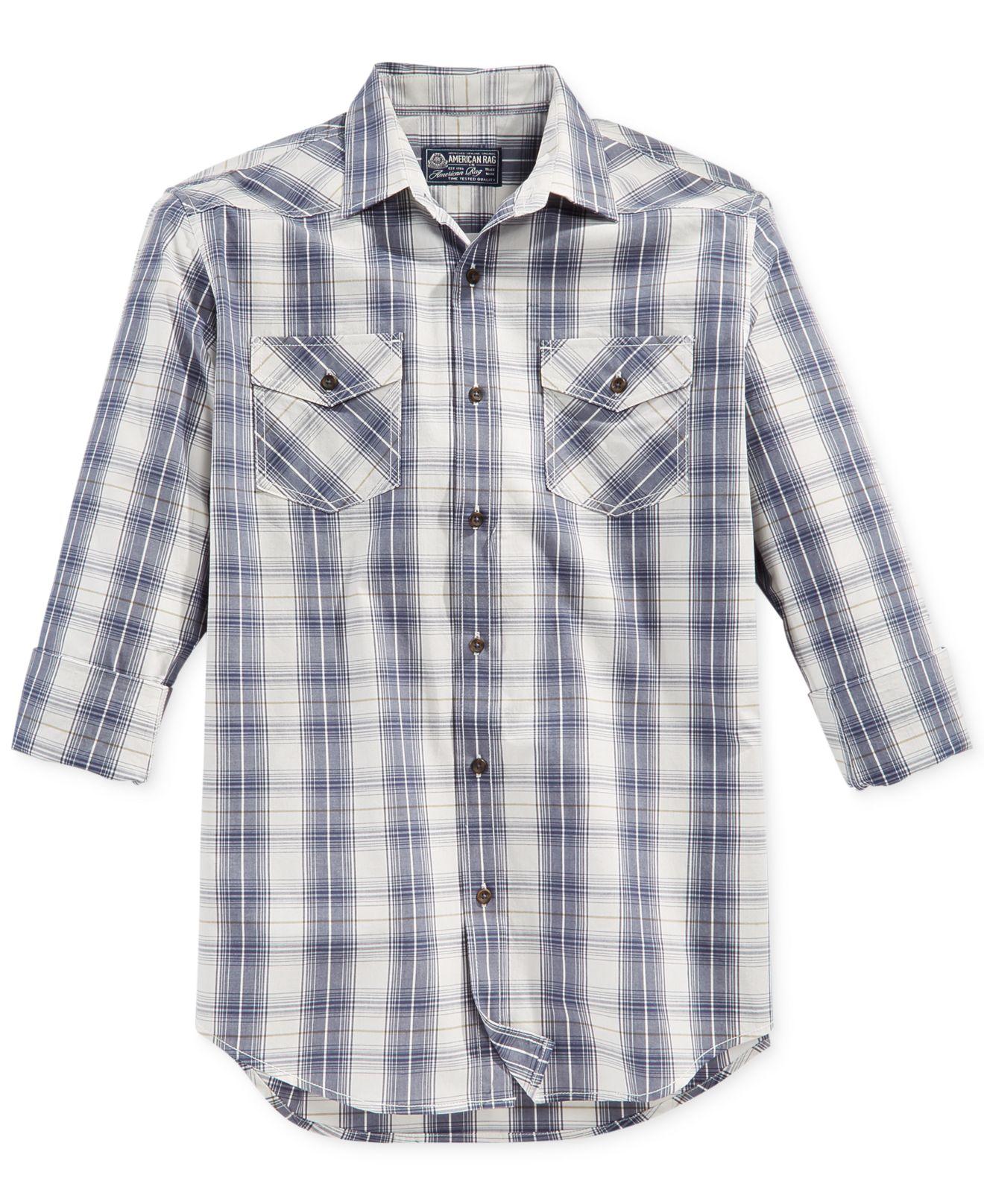 american rag berlin plaid shirt in gray for lyst