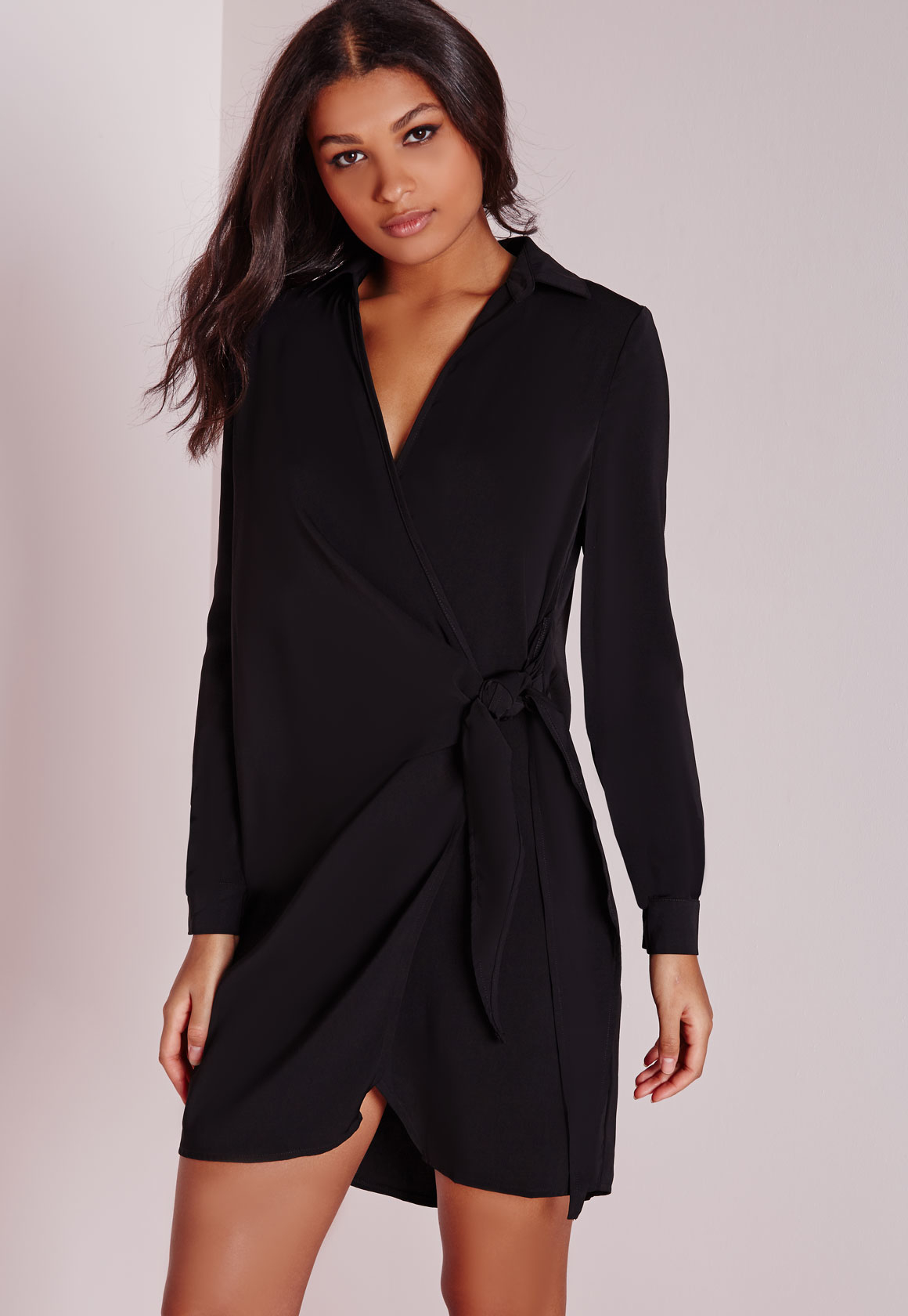 Missguided Crepe Wrap Shirt Dress Black in Black | Lyst