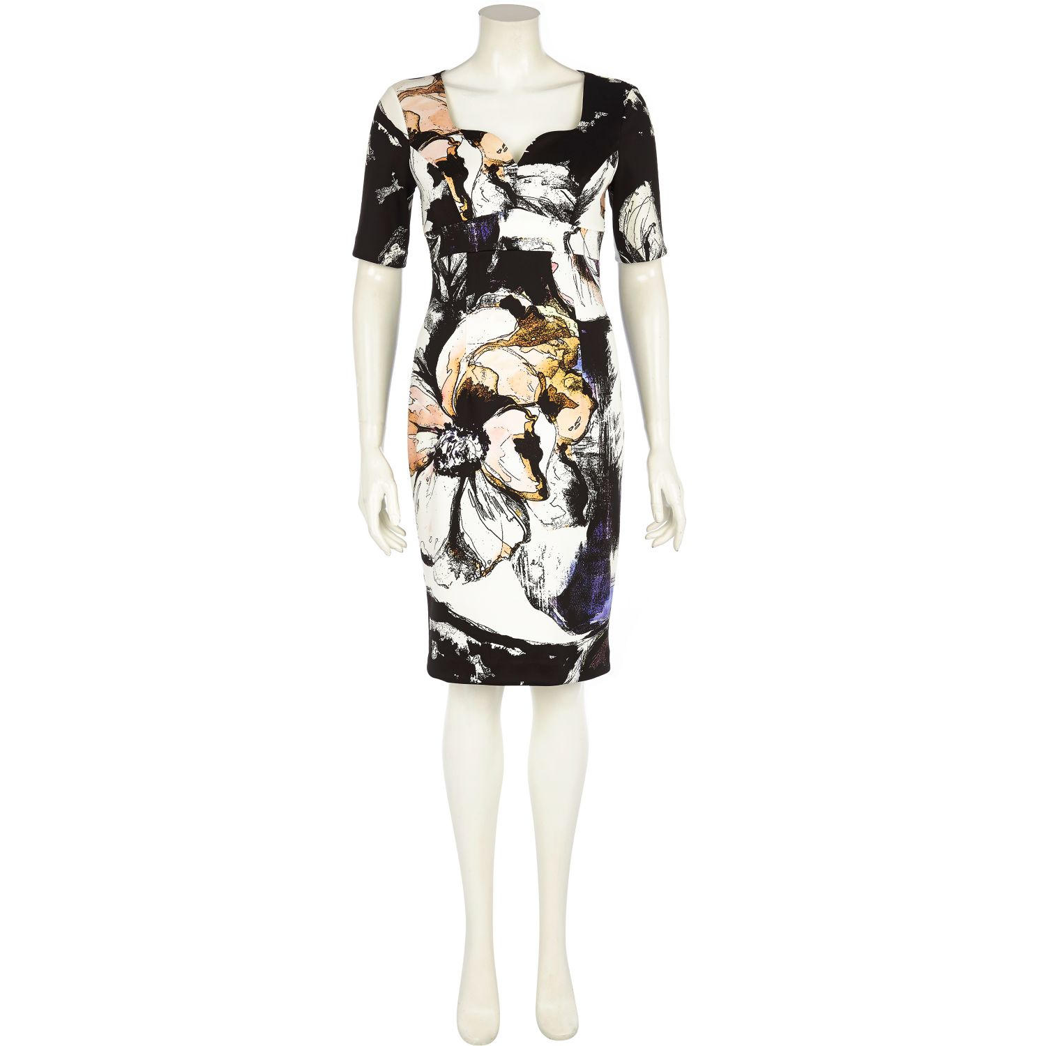 e52d986fea8 River Island White Floral Cut Out Sweetheart Miracle Dress in White ...